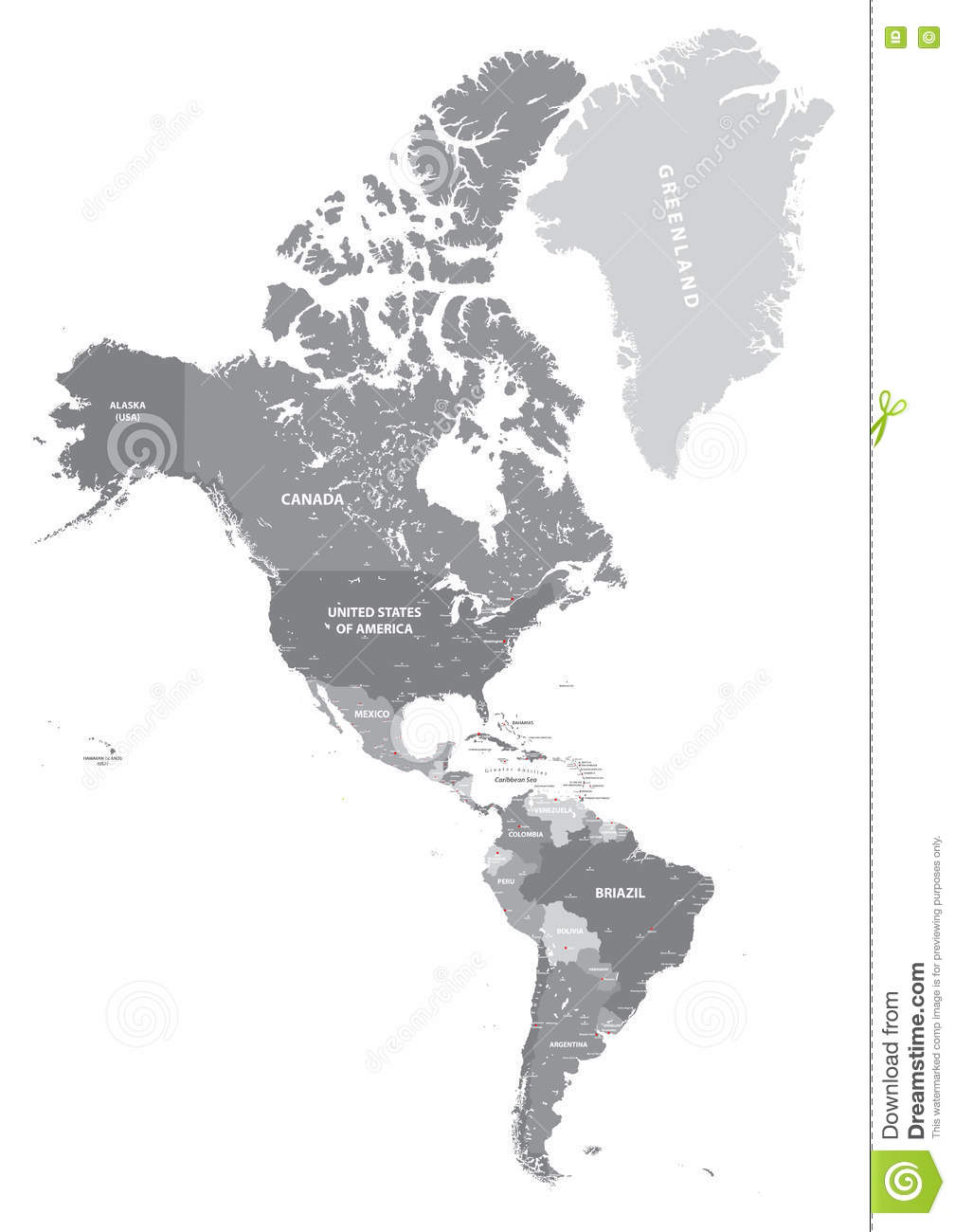 North And South America High Detailed Political Map In Grey ...