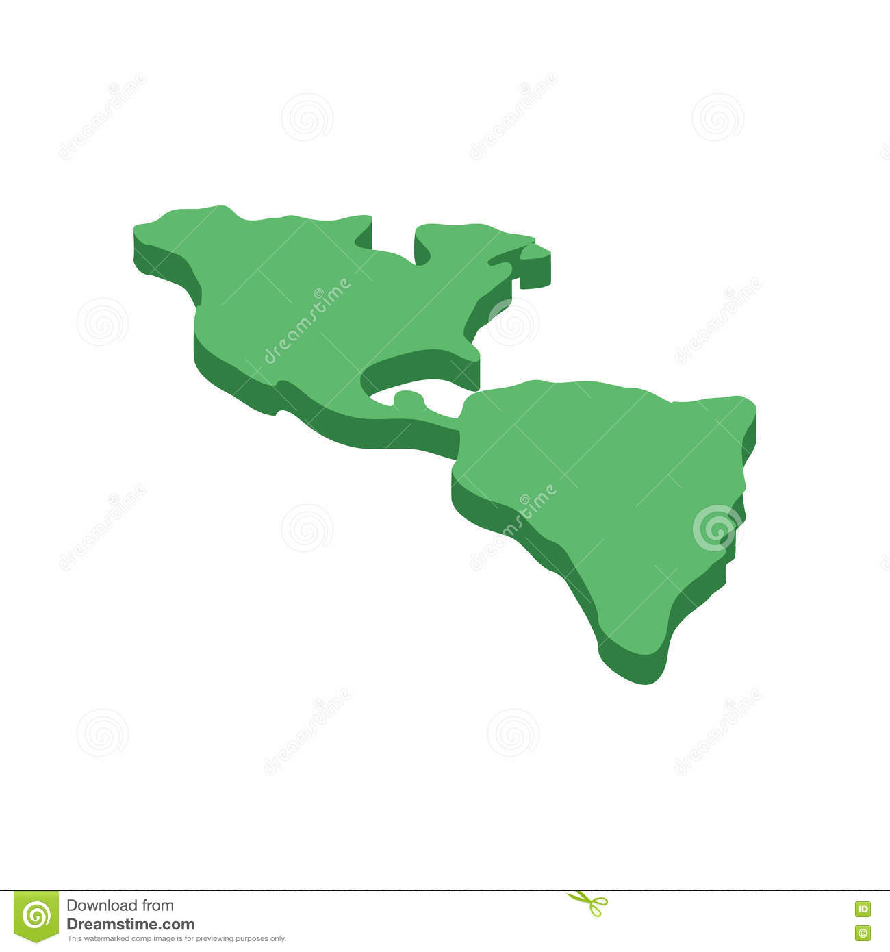 North And South America Map Isometric 3d Icon Stock Vector Image
