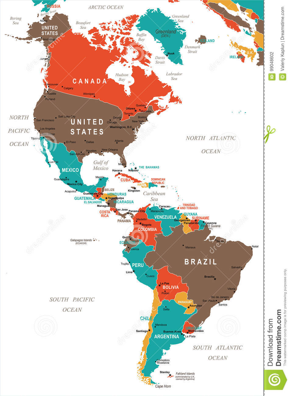 Picture of: North And South America Map Vector Illustration Stock Illustration Illustration Of Peru Regions 99048602