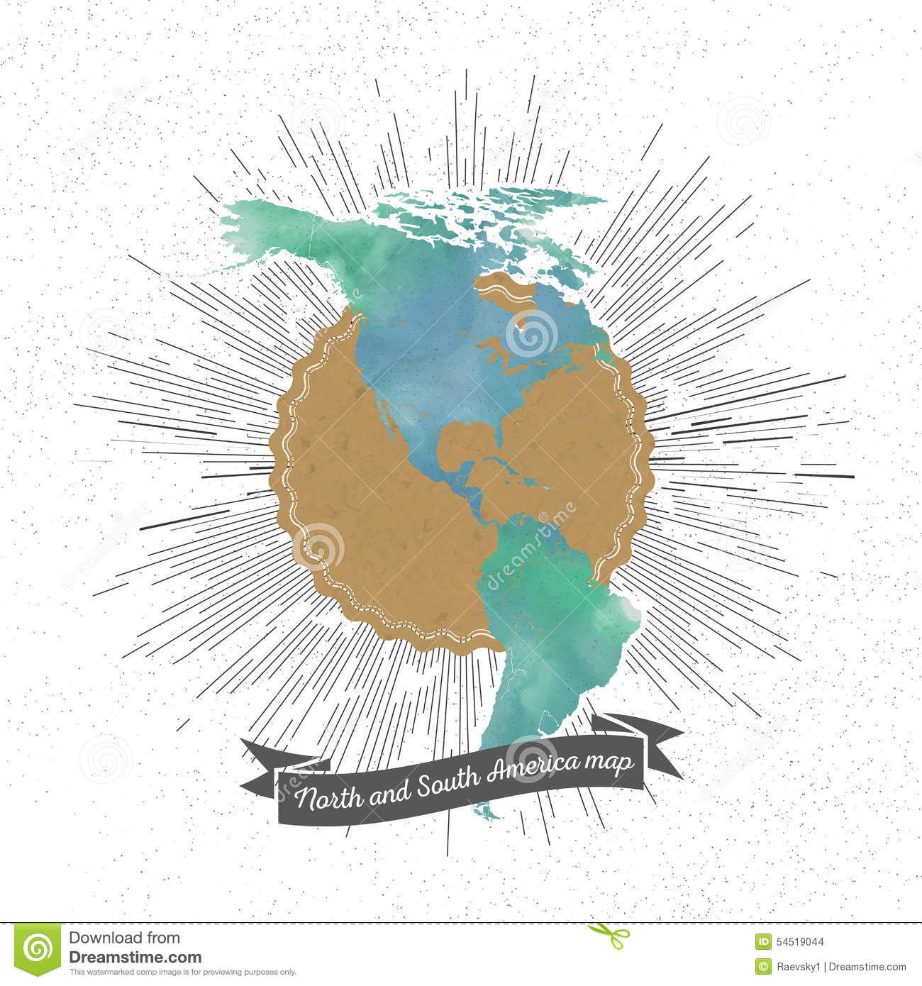 North And South America Map With Vintage Style Stock Vector ...