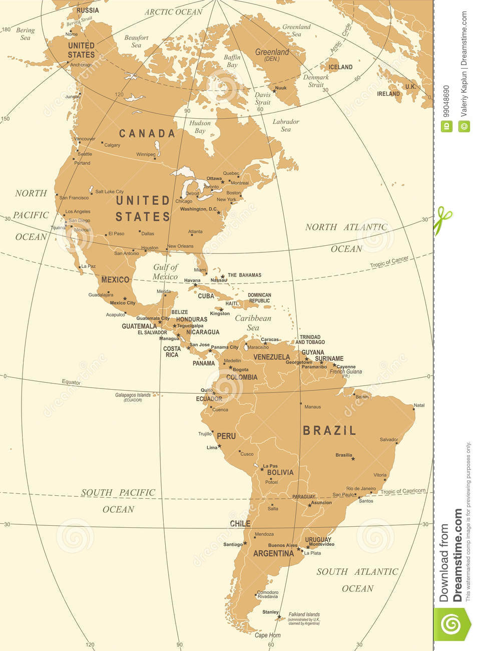 North And South America Map - Vintage Vector Illustration ...