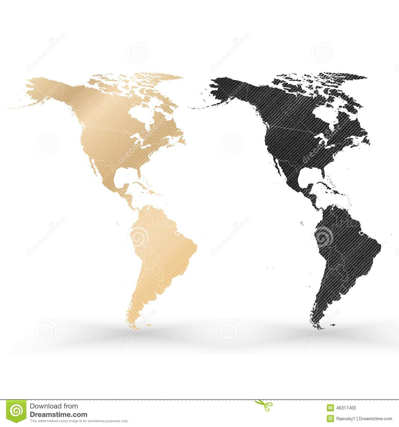 North And South America Map With Vintage Style Stock Vector - North and south america map