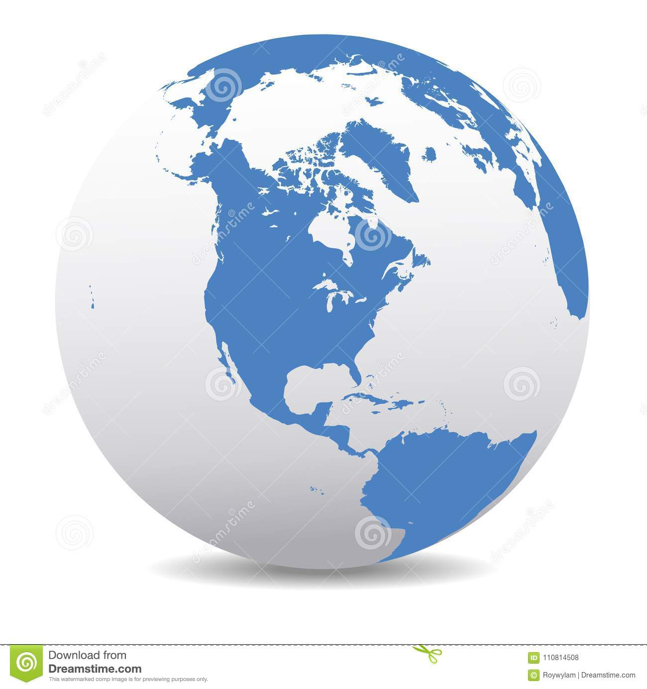 North South And Central America Global World Stock Vector