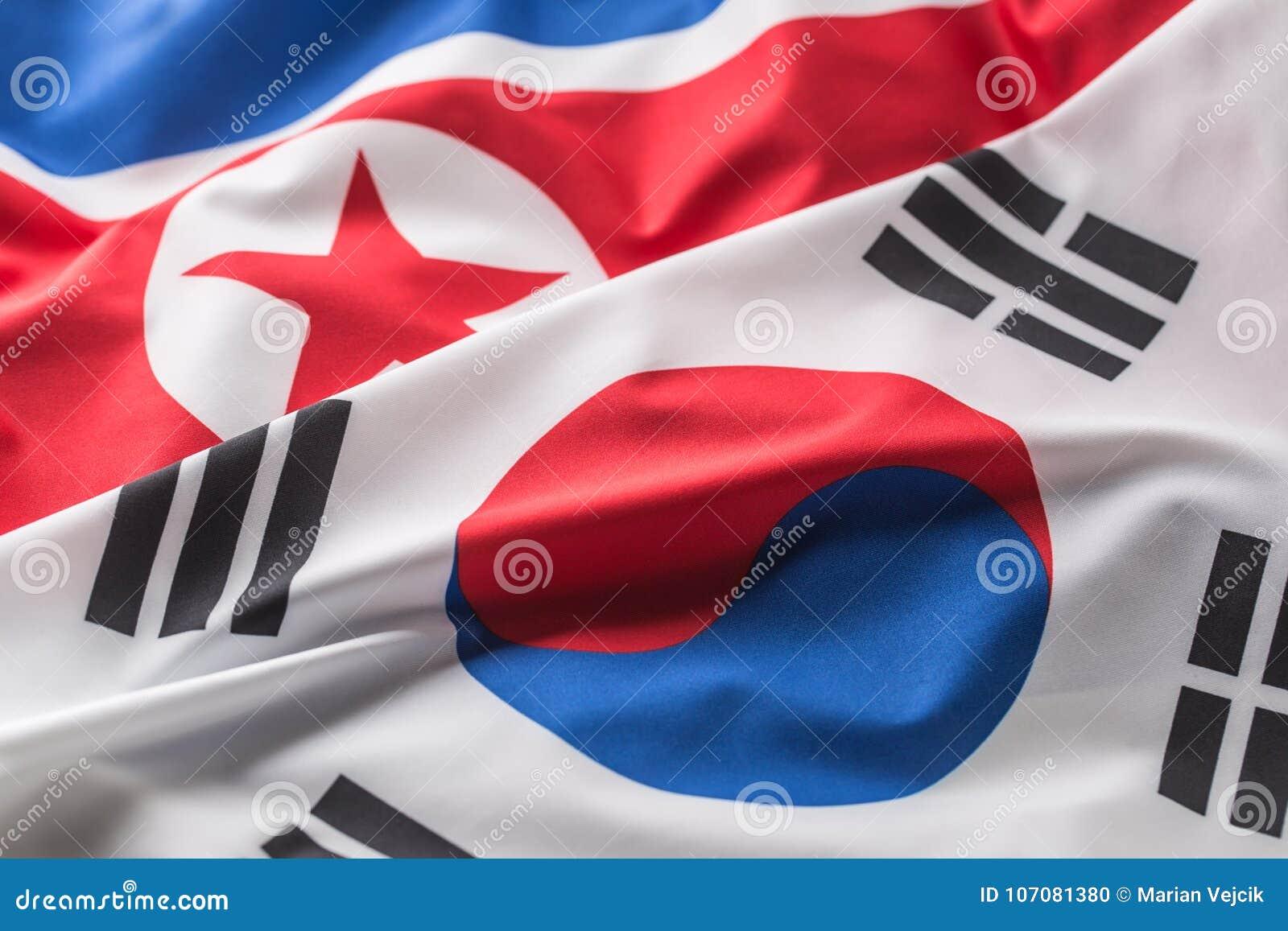 North and south korea flag. Colorful south and North Korea flag