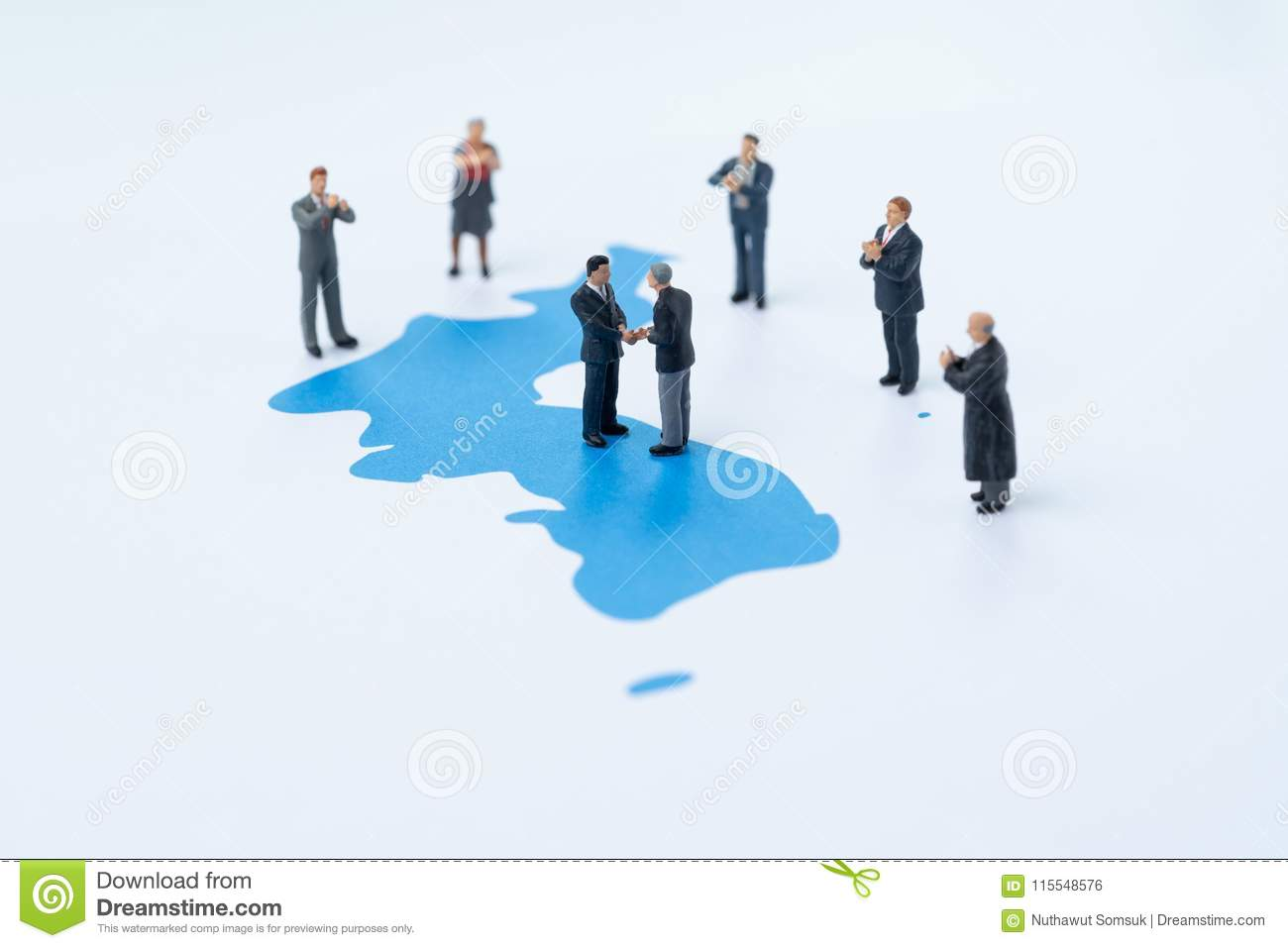 North and south korea peace, end war and denuclearization concept, miniature people country leader shake hands on Korea