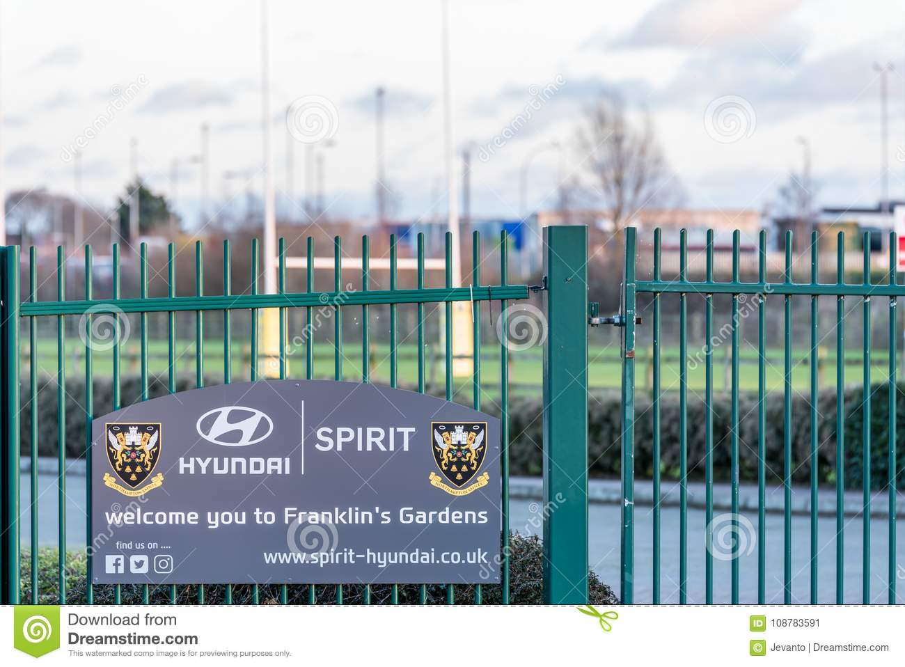 Northampton UK January 04, 2018: Hyunday Spirit welcomes you to Franklin Gardens home of