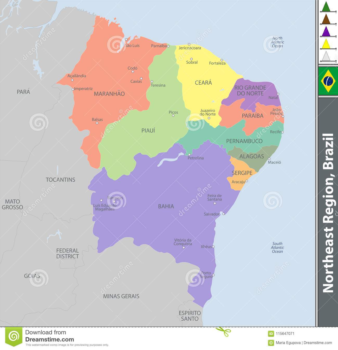 Image of: Northeast Region Of Brazil Stock Vector Illustration Of American 115647071
