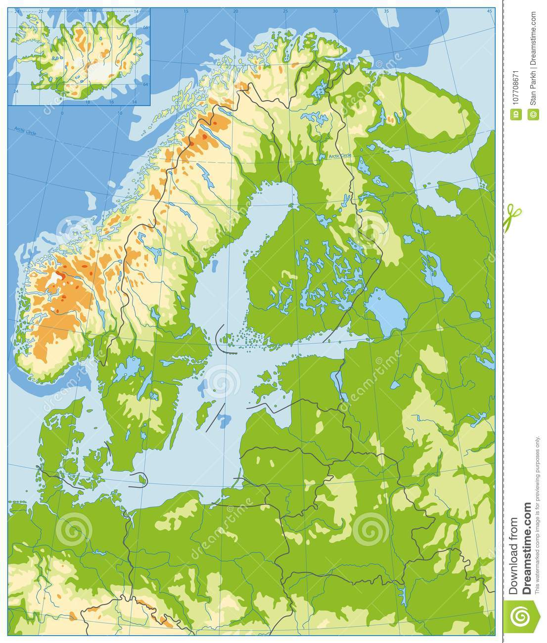 Northern Europe Physical Map. No Text Stock Vector - Illustration of ...