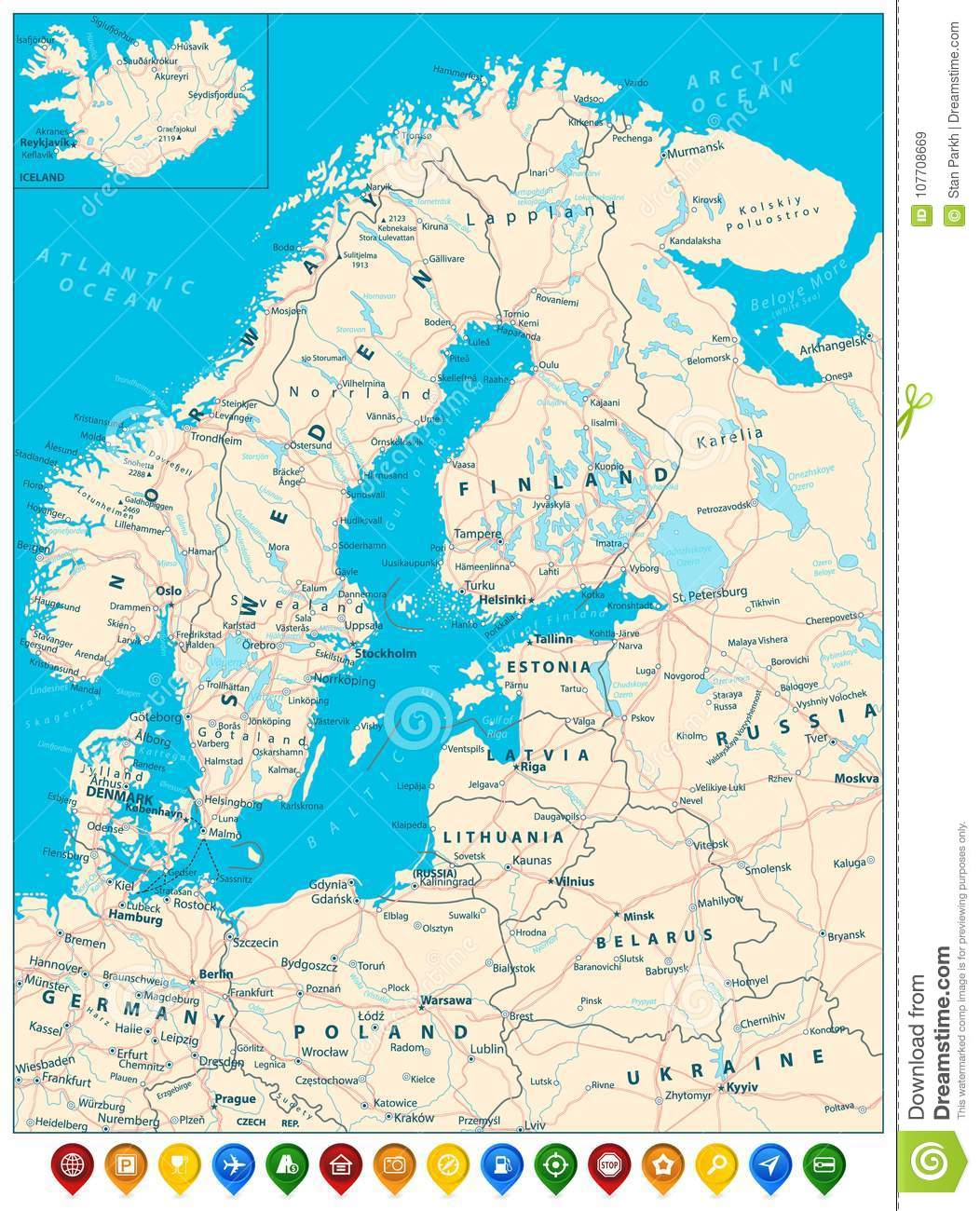 Northern Europe Road Map And Colorful Map Pointers Stock Vector