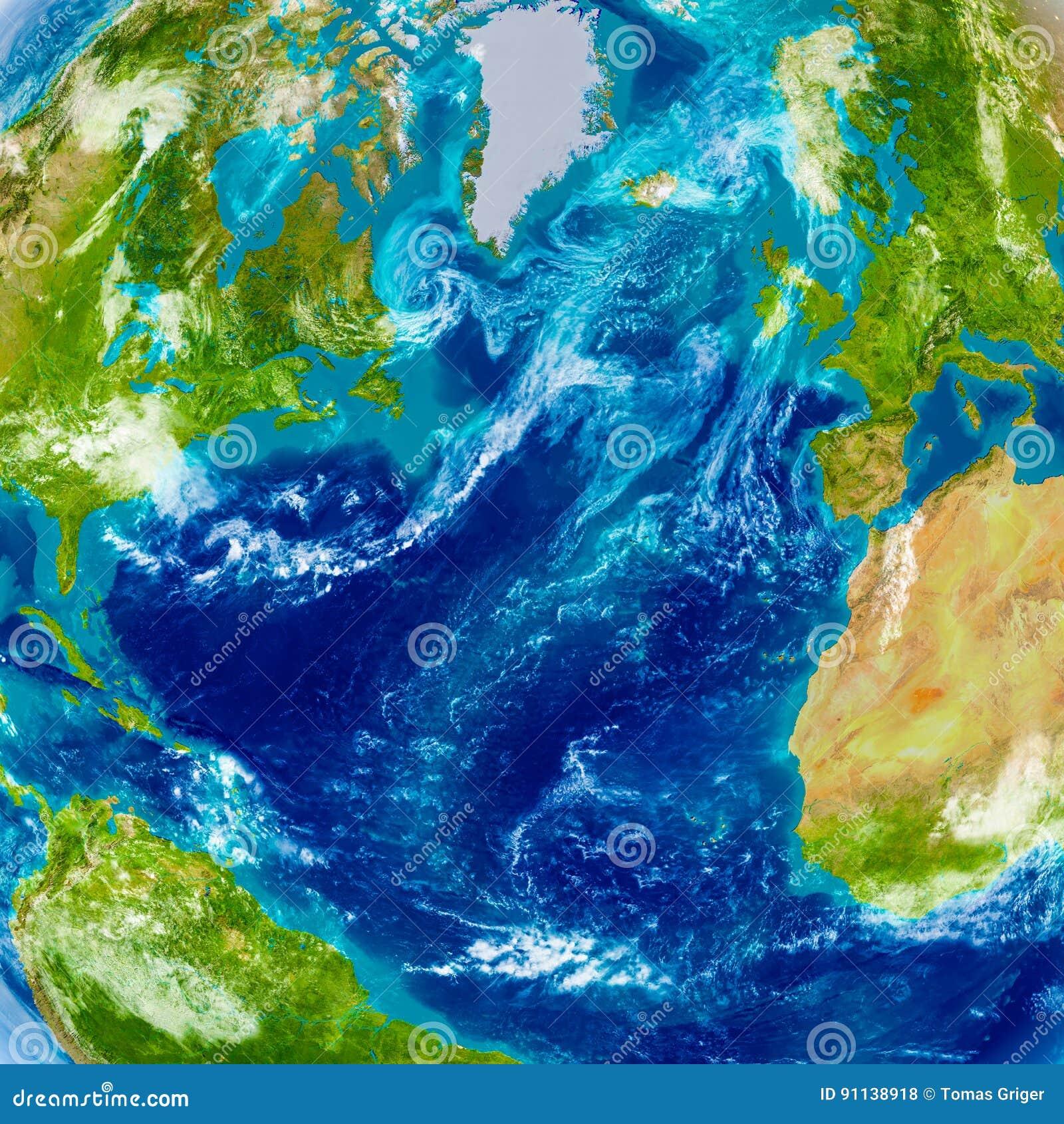 Northern Hemisphere On Physical Map Stock Illustration