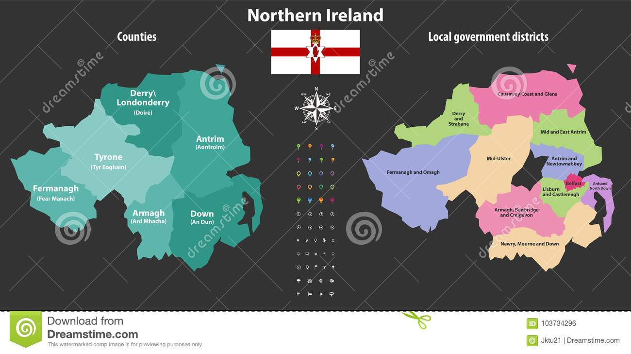 Northern Ireland Counties And Local Government Districts Vector Map Stock Vector Illustration Of Derry Ardsand 103734296