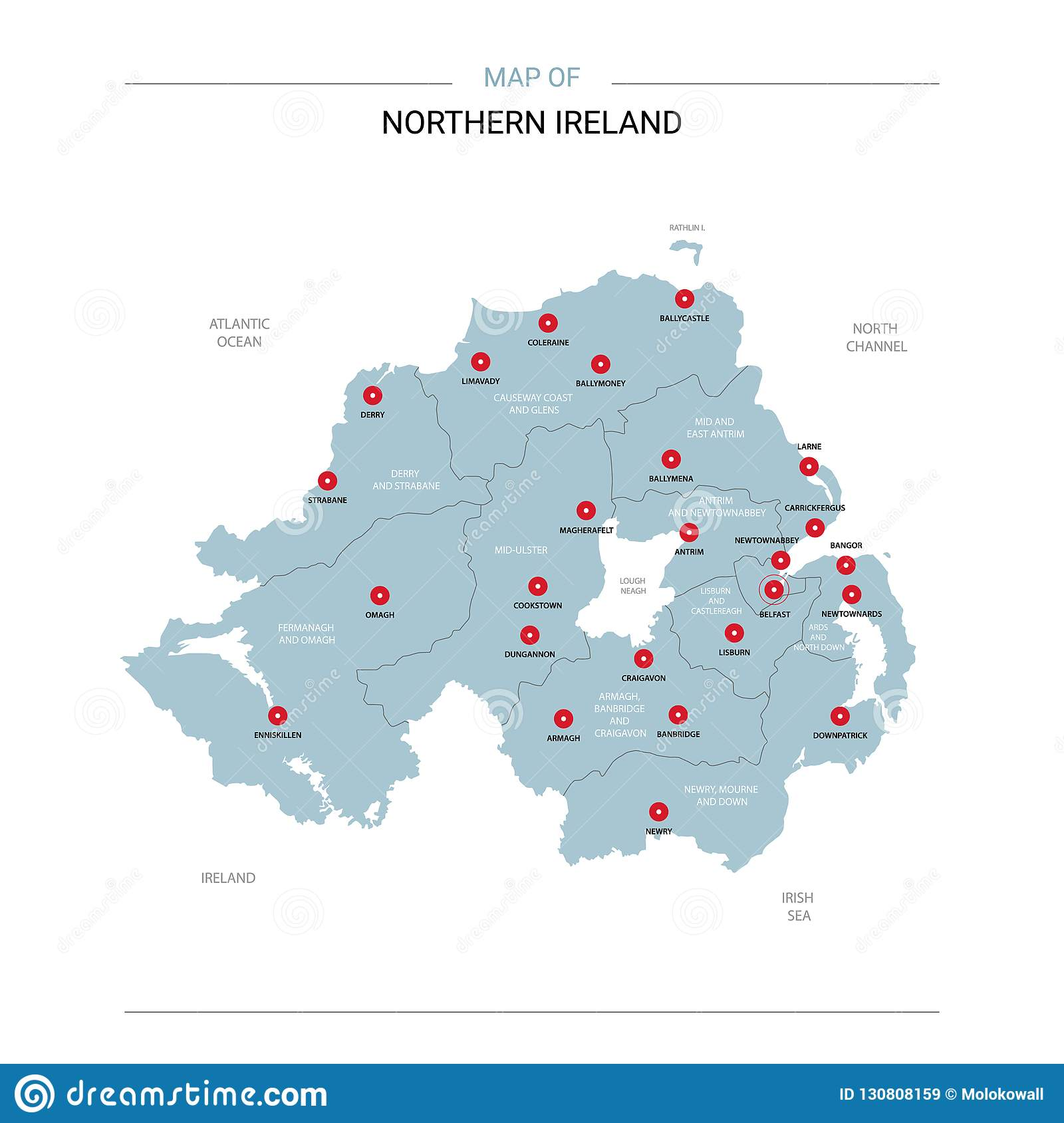 Ireland And Northern Ireland Map.Northern Ireland Map Vector With Red Pin Stock Vector