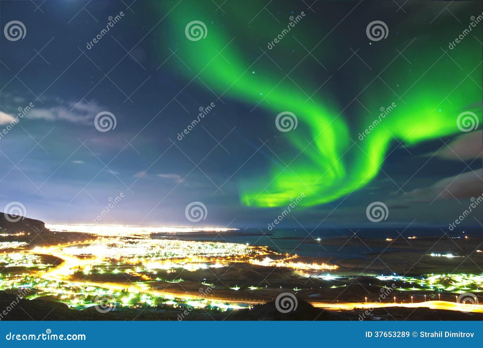 Northern lights above Reykjavik Iceland