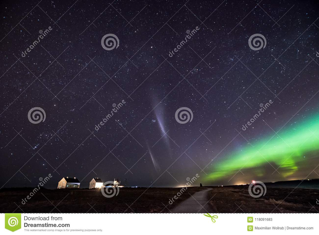 Northern lights aurora at seaside with Steve
