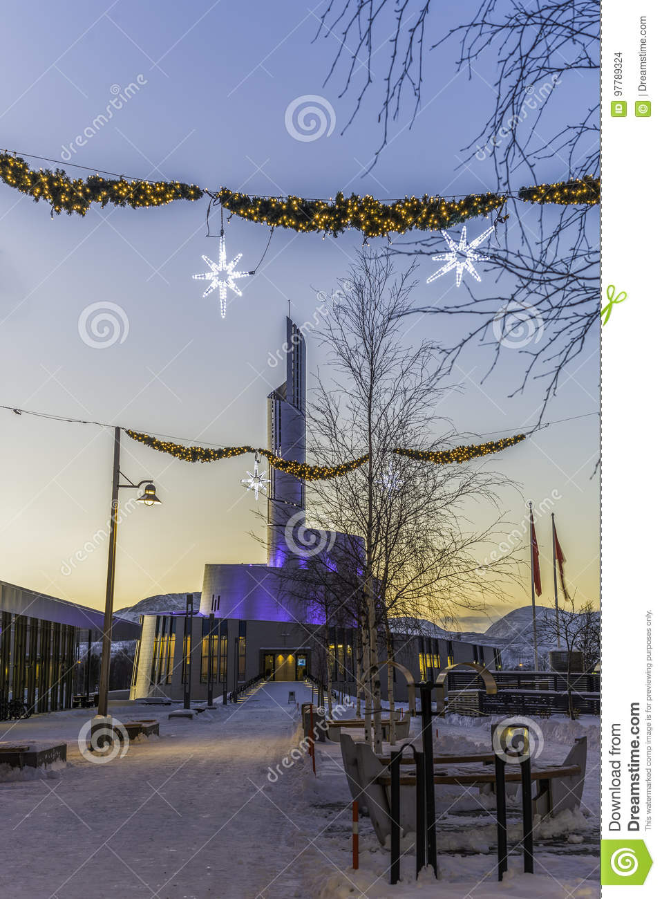 Northern Lights Cathedral In Christmas Stock Photo Image Of Glow