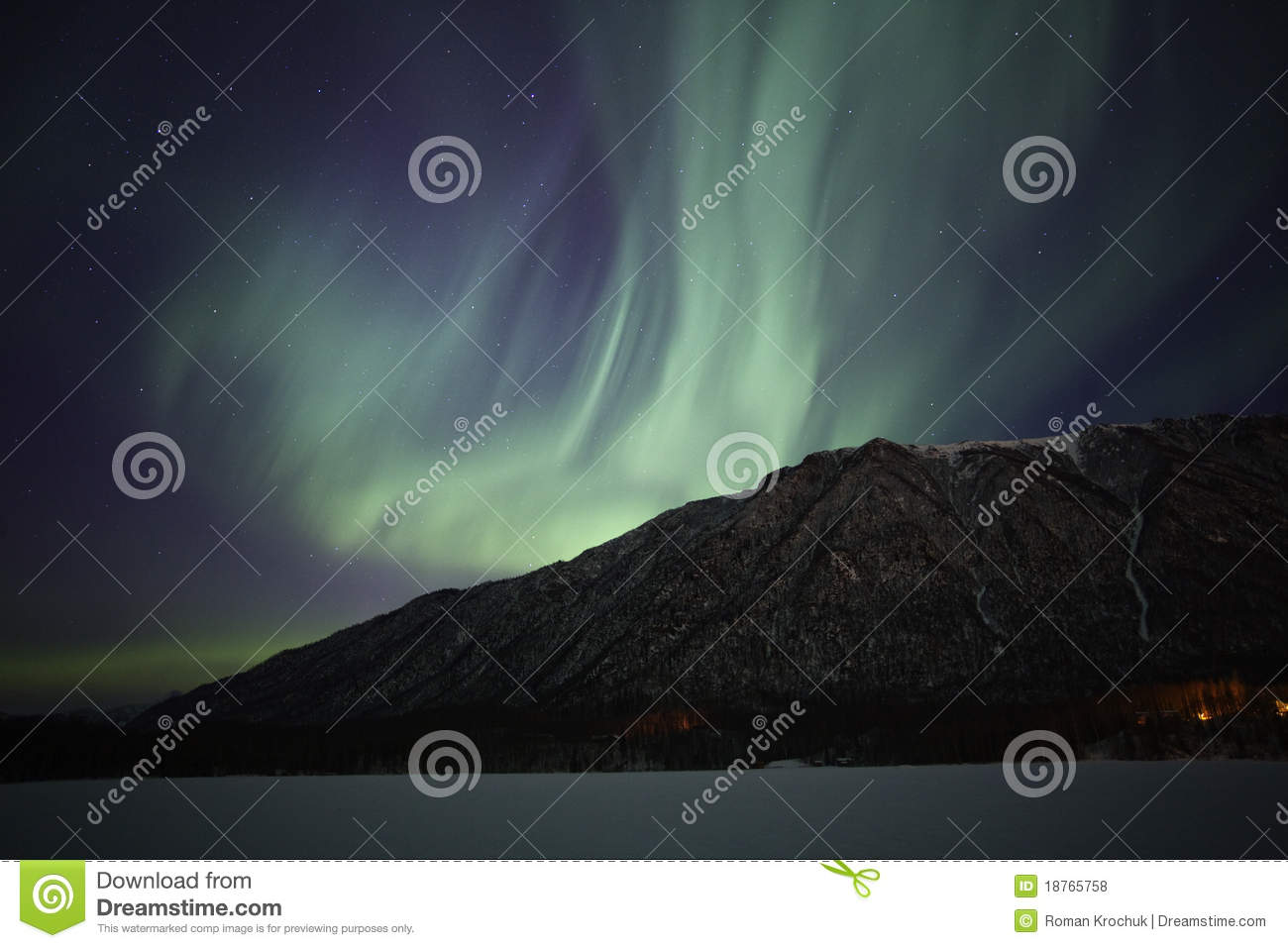 northern lights over mirror lake near anchorage ak royalty free stock