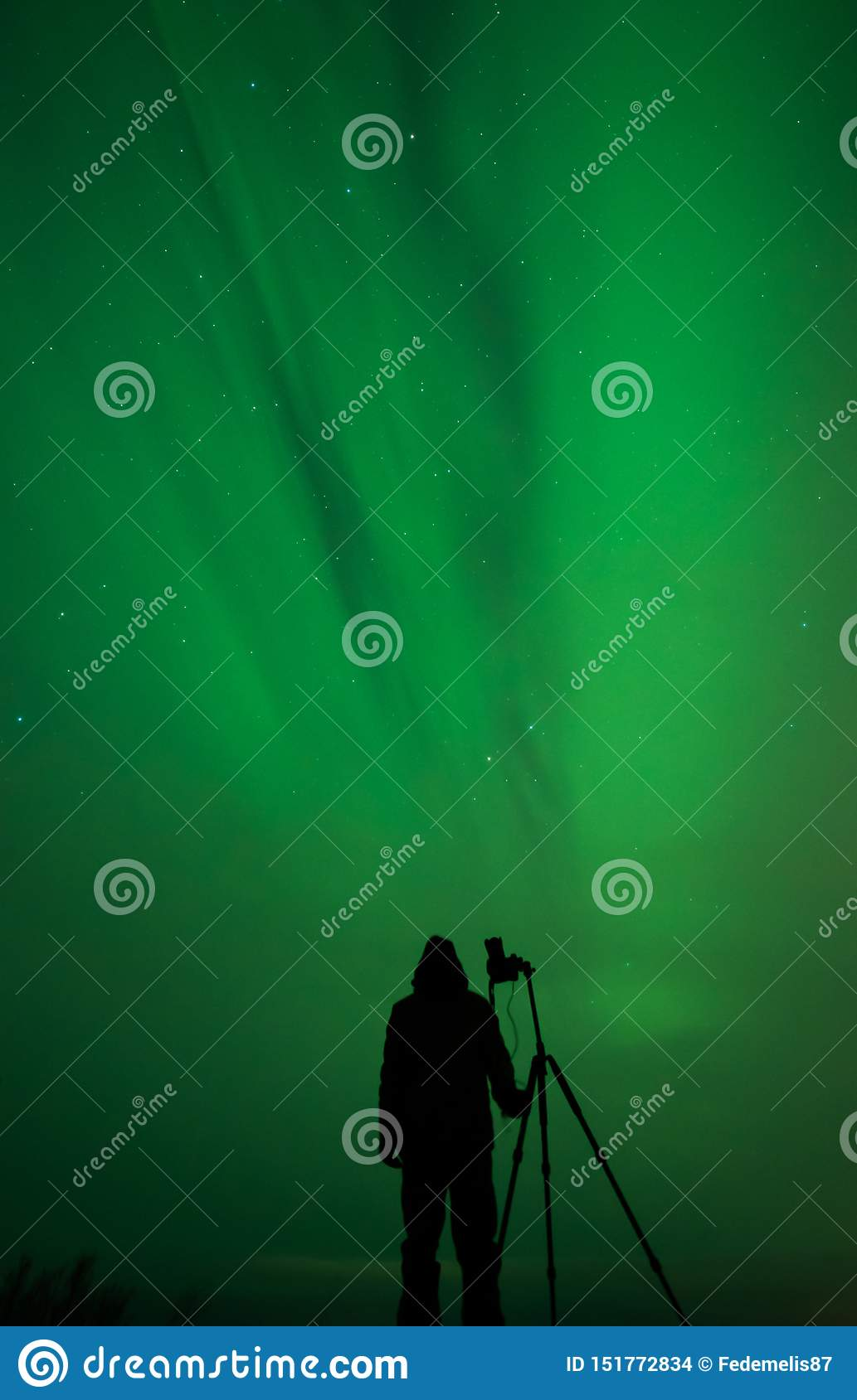 Northern lights photographer silhouette