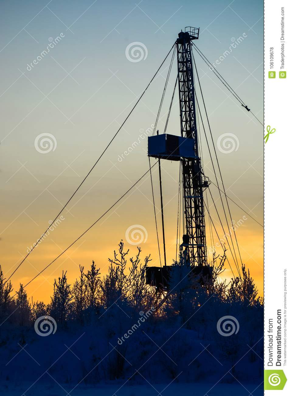 Rig For Drilling Oil And Gas Wells In The Siberian Field Stock Photo