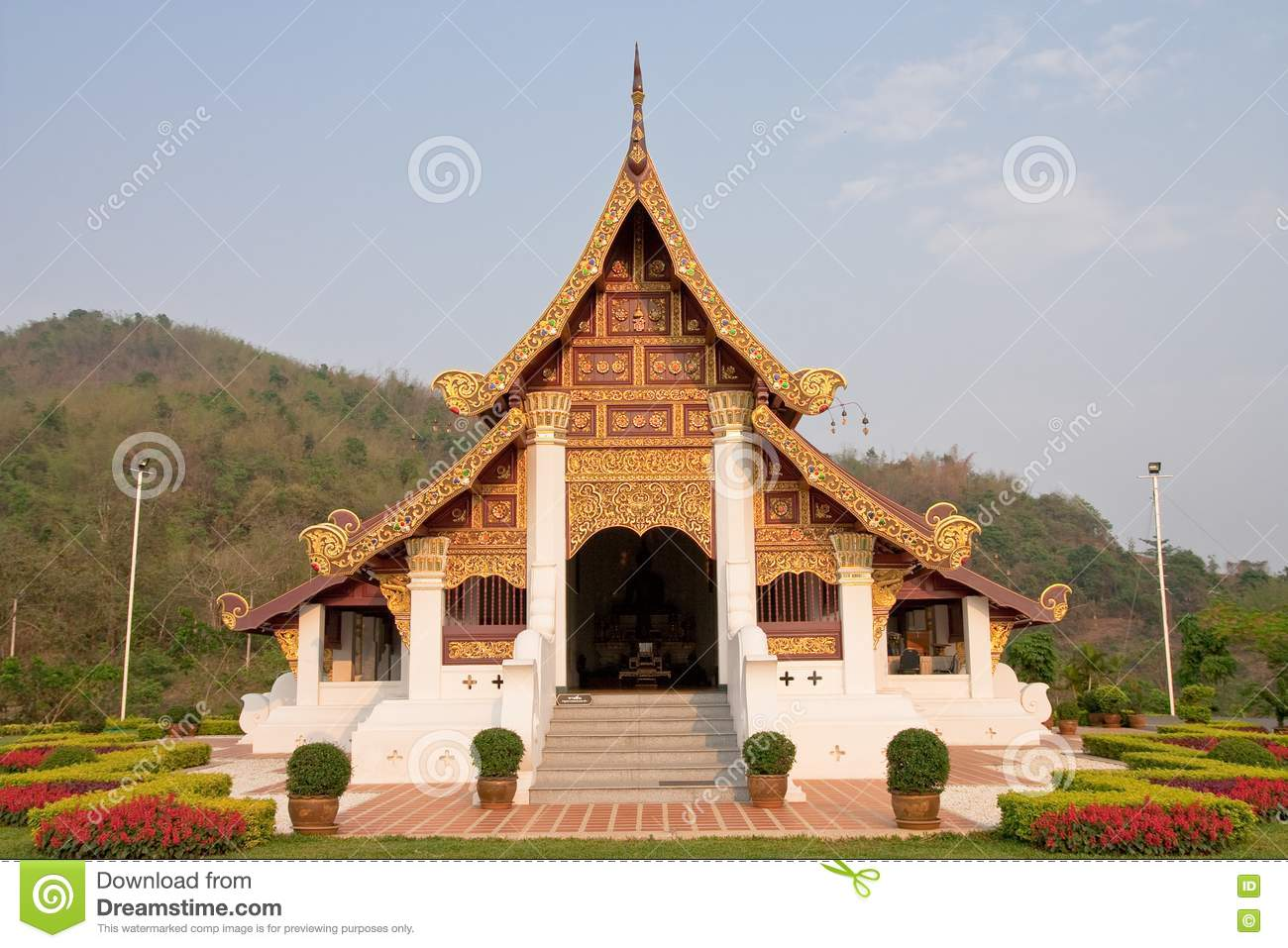 Northern traditional thai style architecture royalty free for Thailand architecture