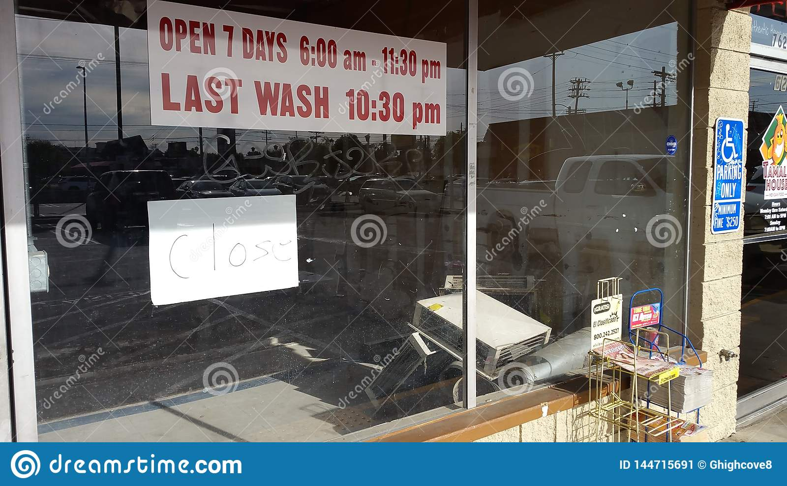 Northidge, CA / United States - April 1 2019: Closed-down out of business coin laudromat and water store