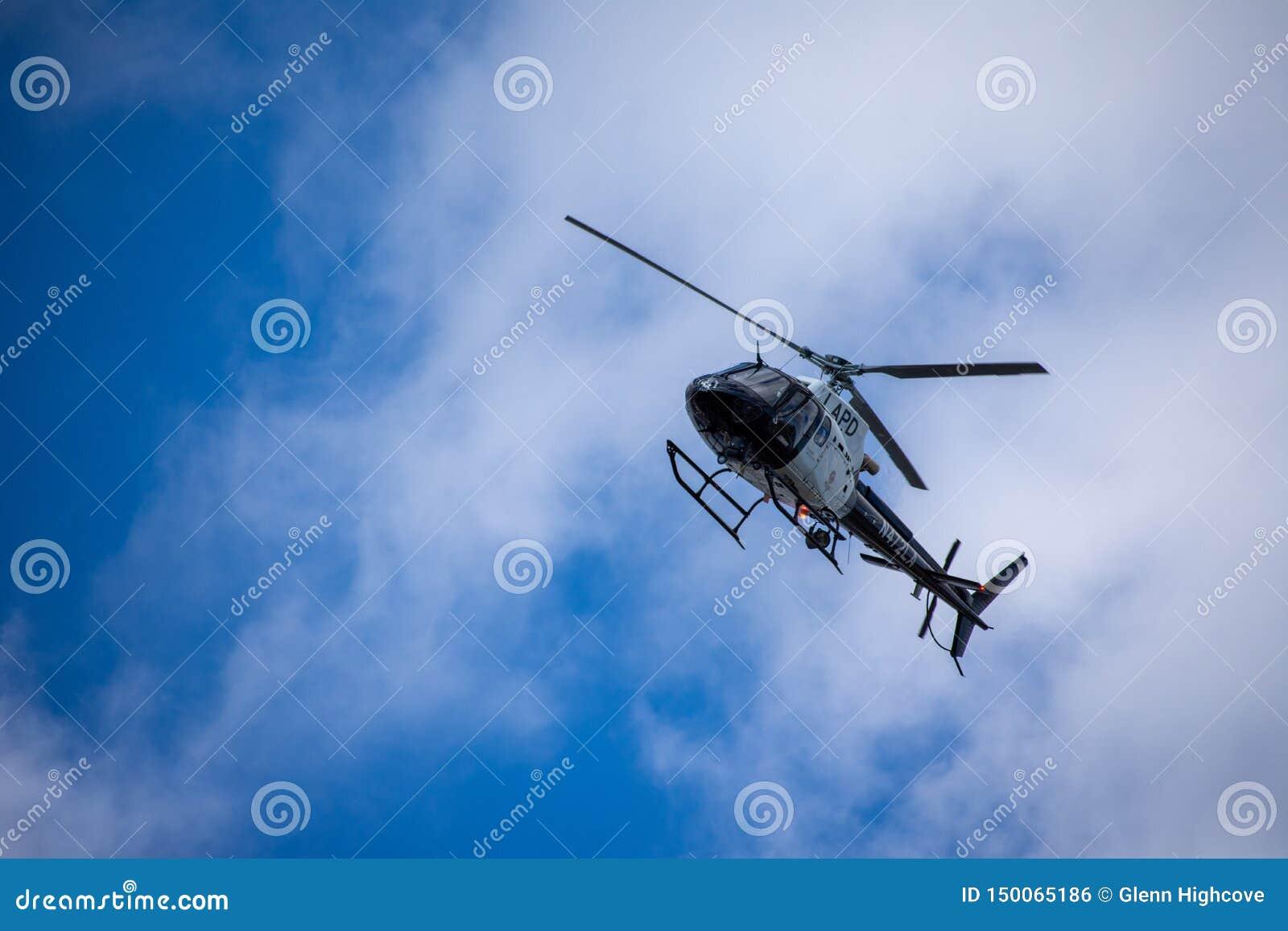 Northridge,加州/美国- 2019年5月27日:LAPD航空兵和巡逻单位反应在郊区的brandishing/ADW电话