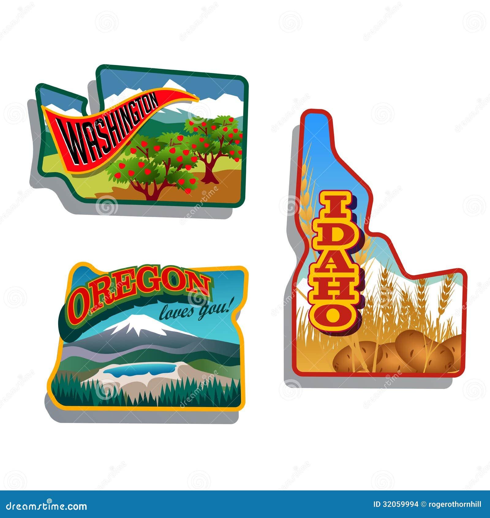 Northwest United States Idaho Oregon Washington Retro