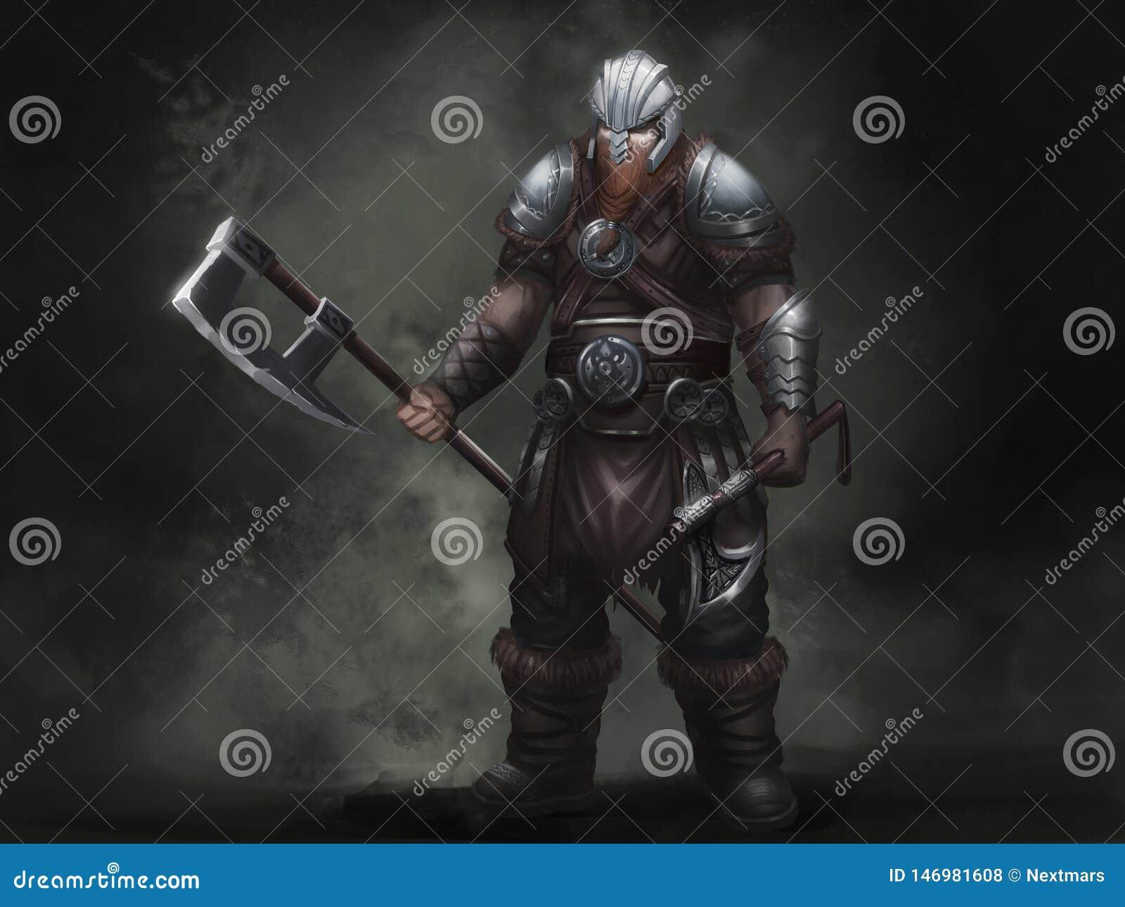 Norvegesi Viking di fantasia Progettazione di carattere del guerriero Illustrazione realistica