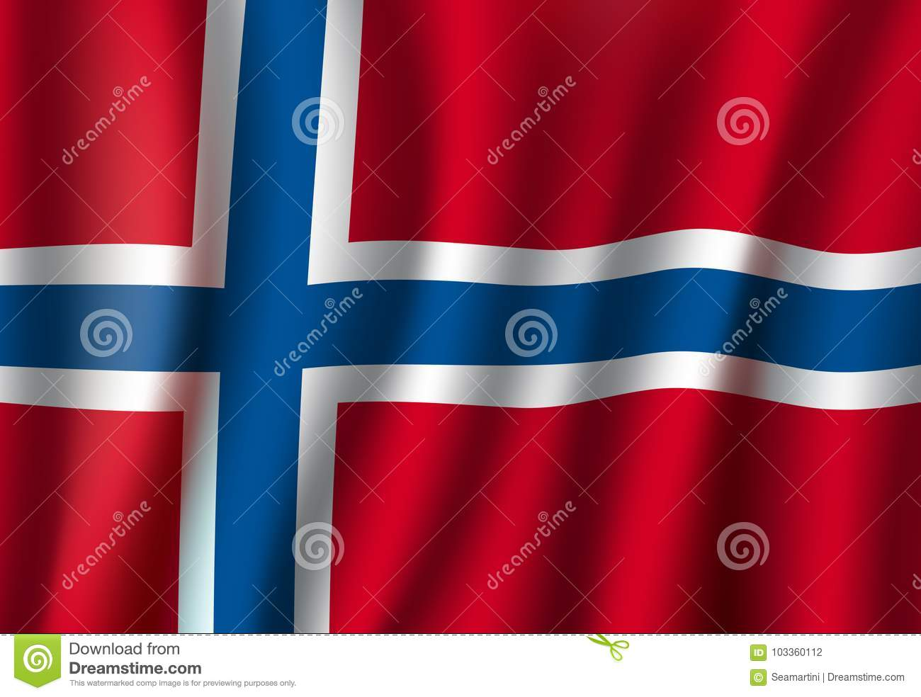 Norway Vector 3d Flag Background National Symbol Stock Vector