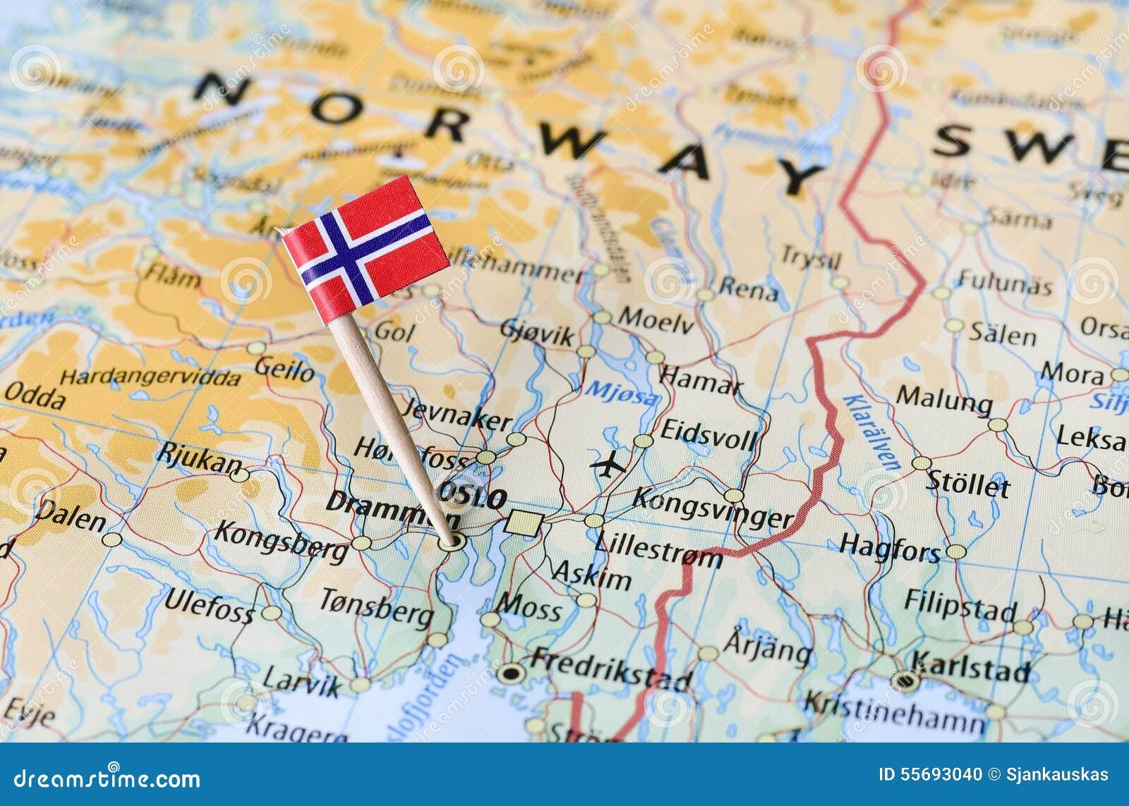 Norway flag on map stock photo Image of europe region 55693040