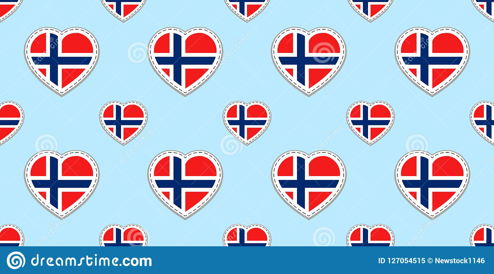 Norway Flag Seamless Pattern Vector Norwegian Flags Stikers Love