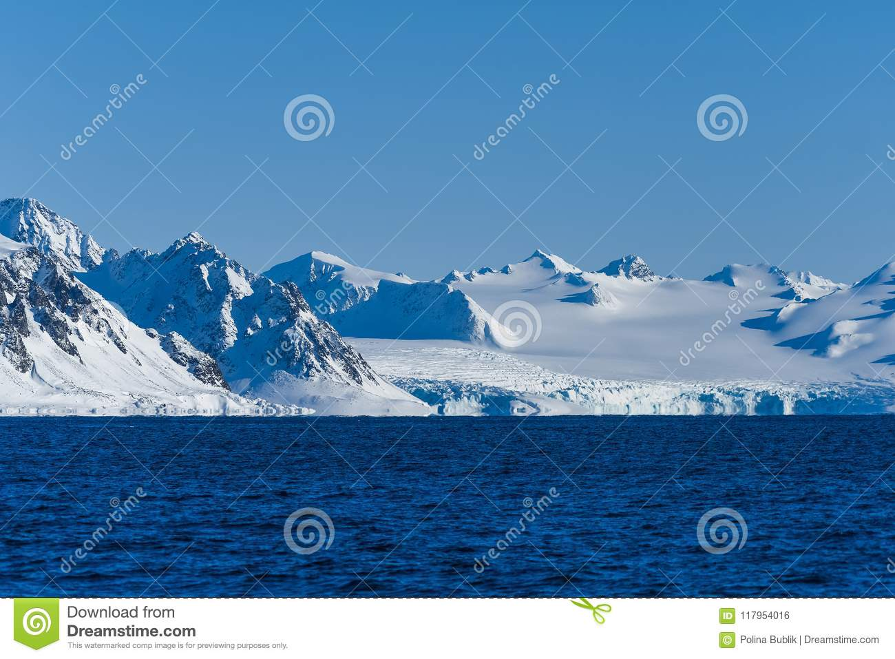 landscape ice nature of the glacier mountains of Spitsbergen Longyearbyen Svalbard arctic ocean winter polar day sunset sky