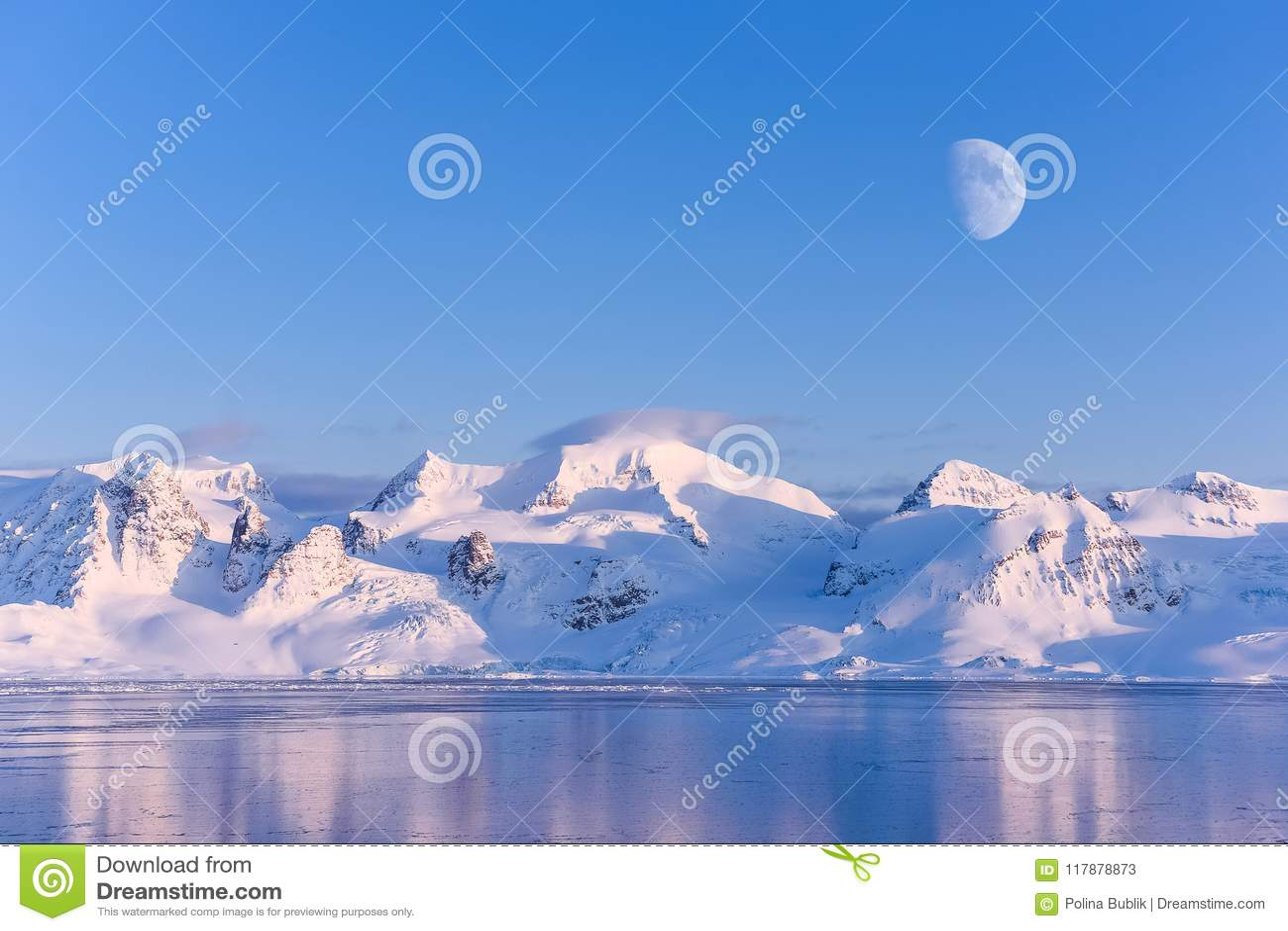 Landscape nature of the mountains of Spitsbergen Longyearbyen Svalbard arctic ocean winter polar day sunset