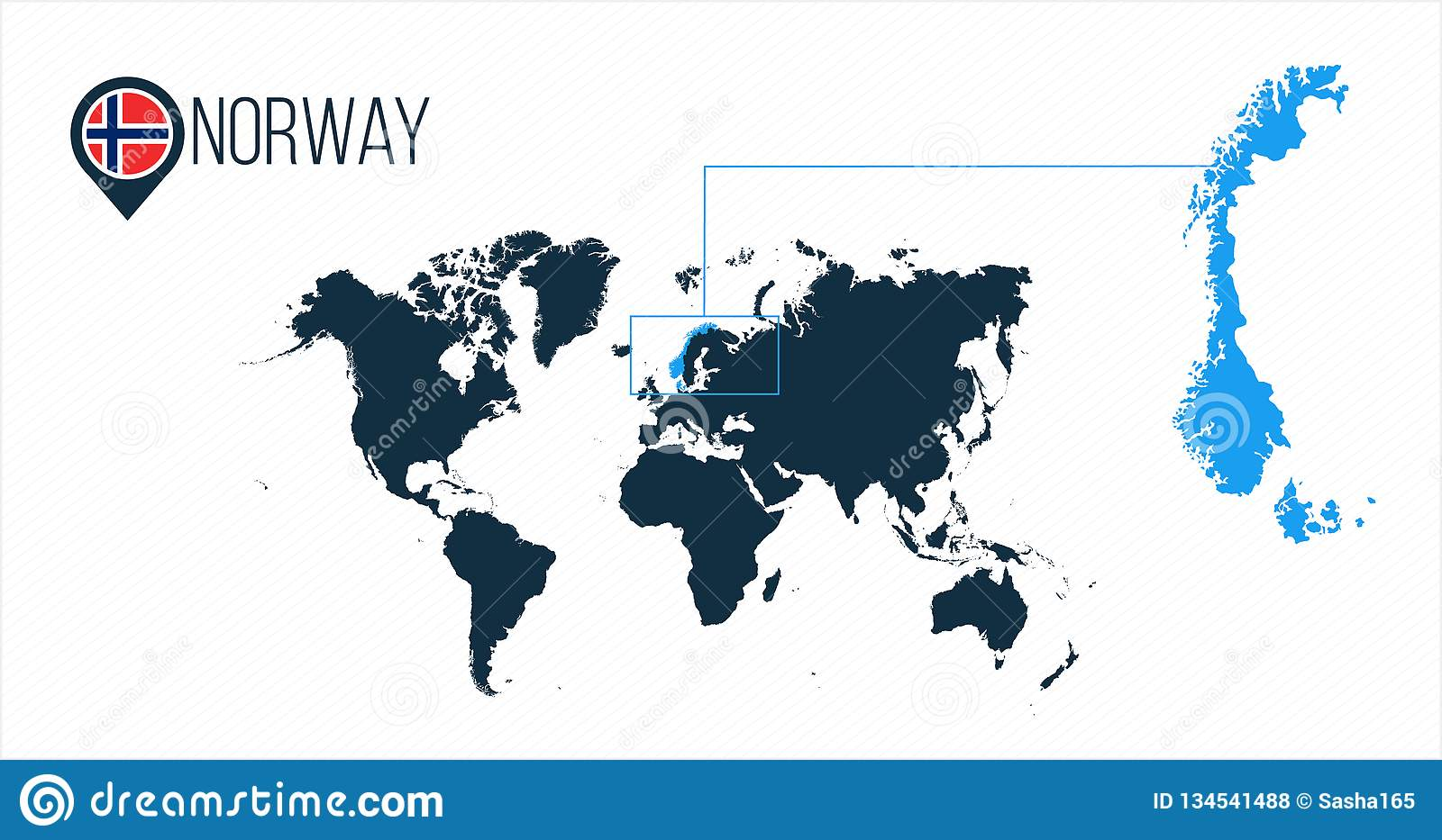 Norway Location On The World Map For Infographics All World