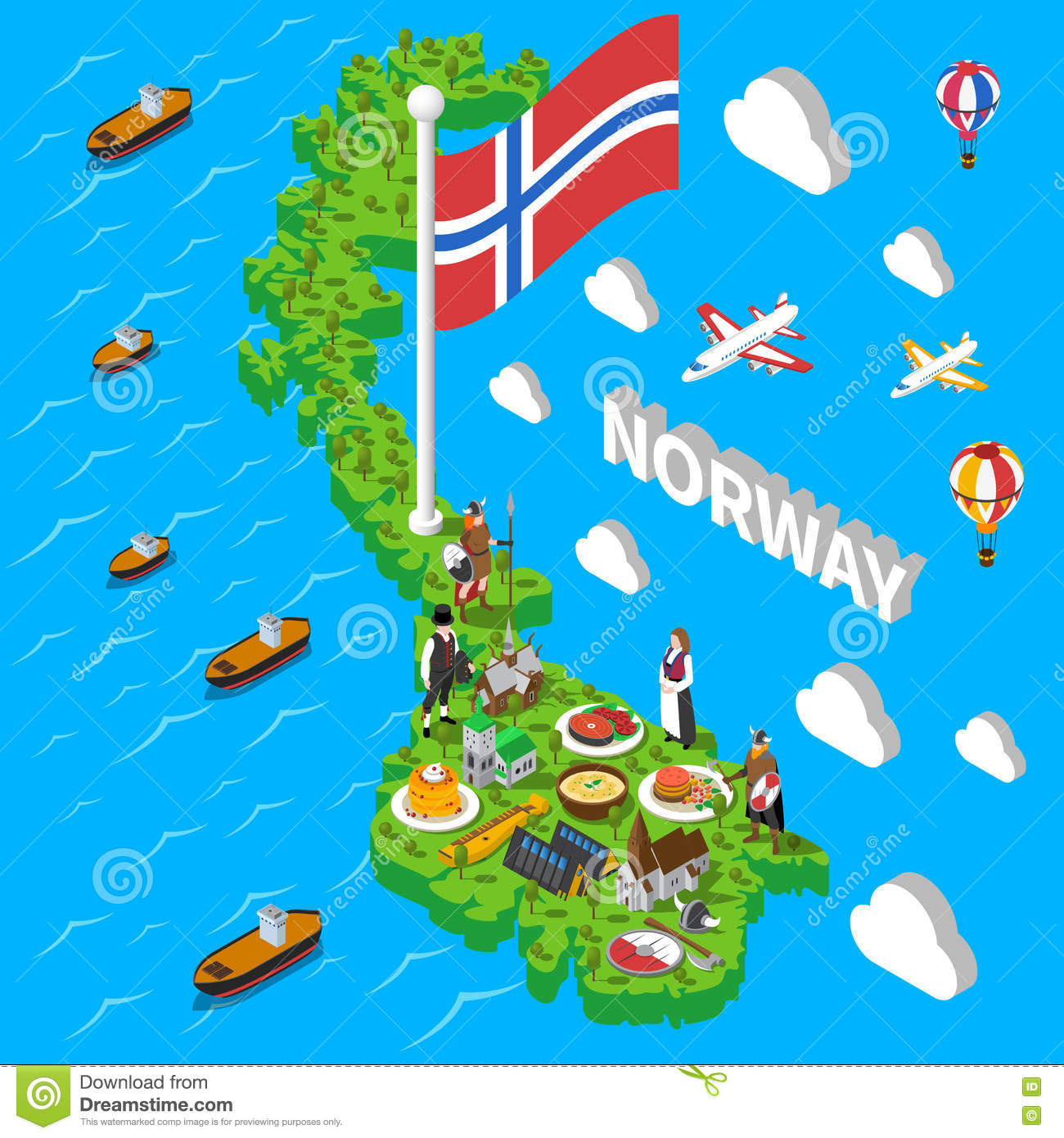 Norway Map Touristic Symbols Isometric Poster Stock Vector Image - Norway map picture