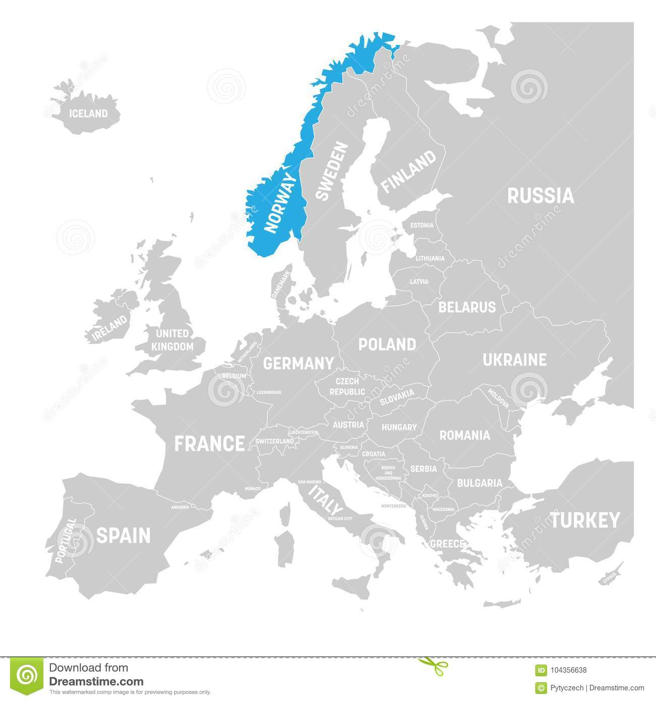 Norway On Map Of Europe.Norway Marked By Blue In Grey Political Map Of Europe Vector
