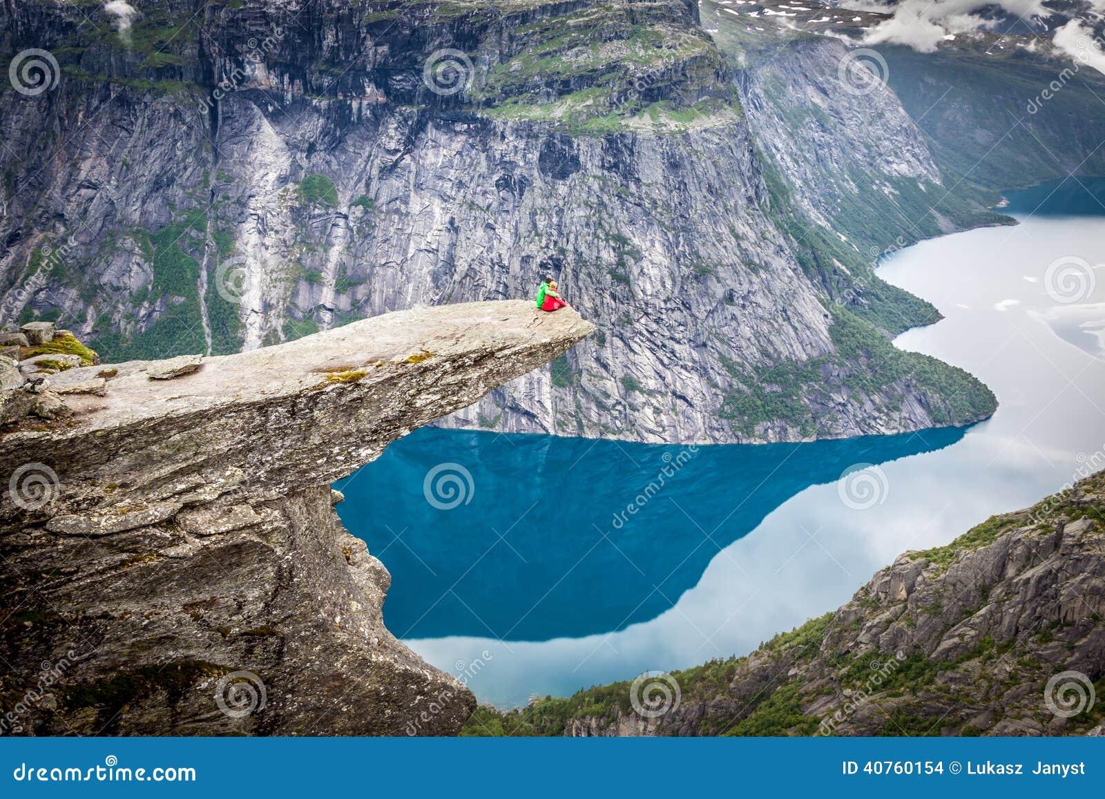 Norway Mountain Trolltunga Odda Fjord Norge Hiking Trail Stock Photo Image 40760154
