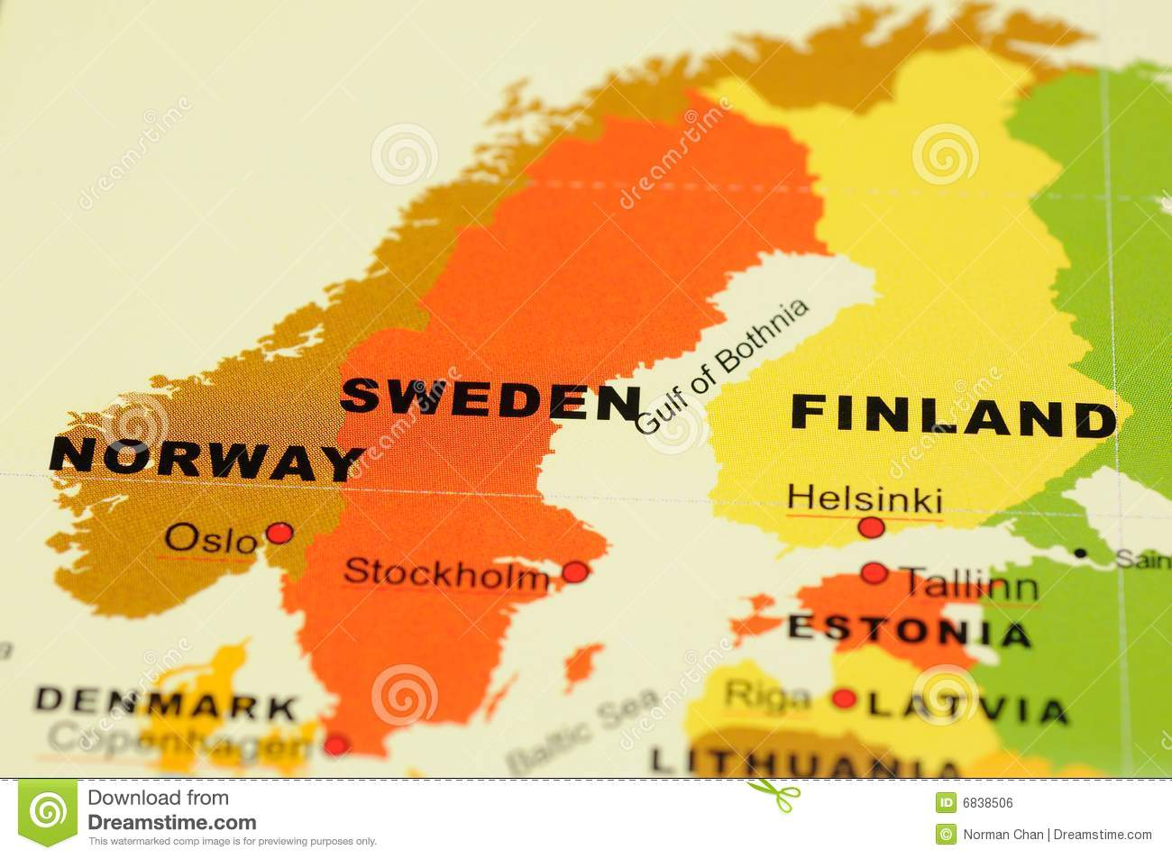 Norway Sweden And Finland On Map Stock Photo Image - Where is norway