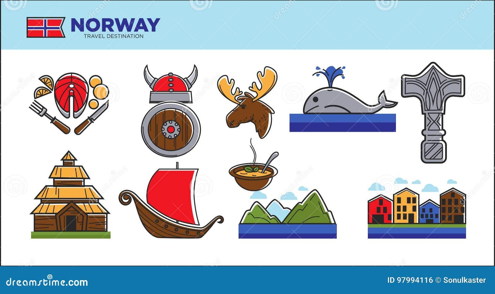 Norway Travel Landmark Symbols Or Norwegian Tourist Famous