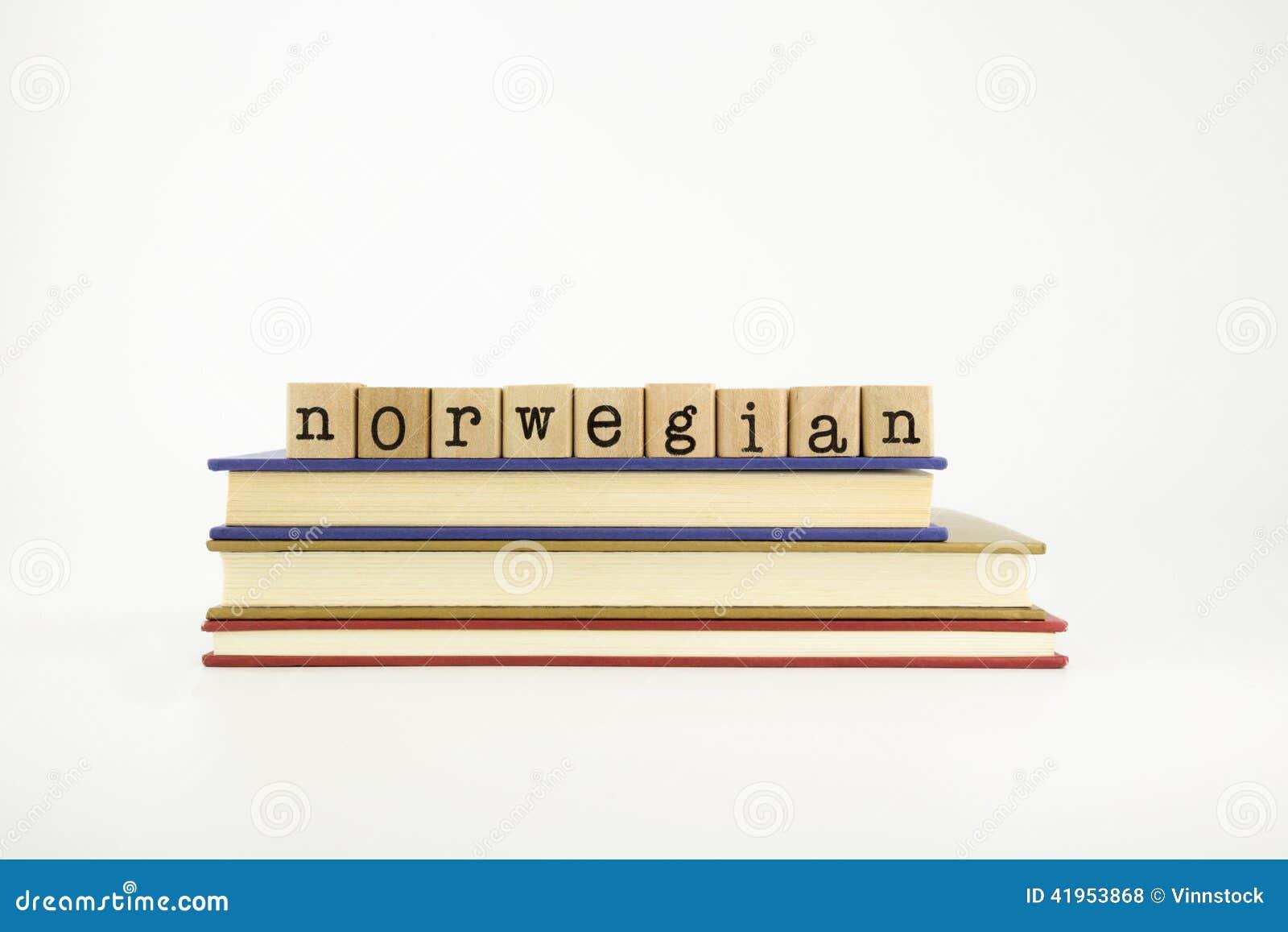 Norwegain językowy słowo na drewnie stempluje i rezerwuje