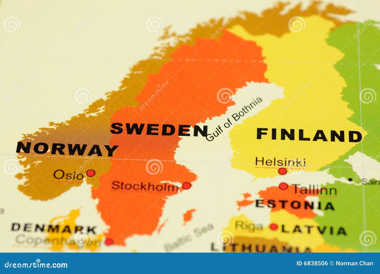 Karte Norwegen Schweden.Norwegen Schweden Und Finnland Auf Karte Stockfoto Bild