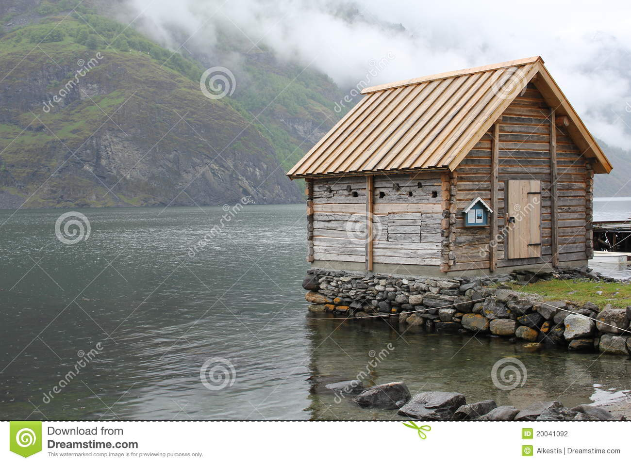 Norwegian Cabin Stock Photo Image Of Fjord Outside