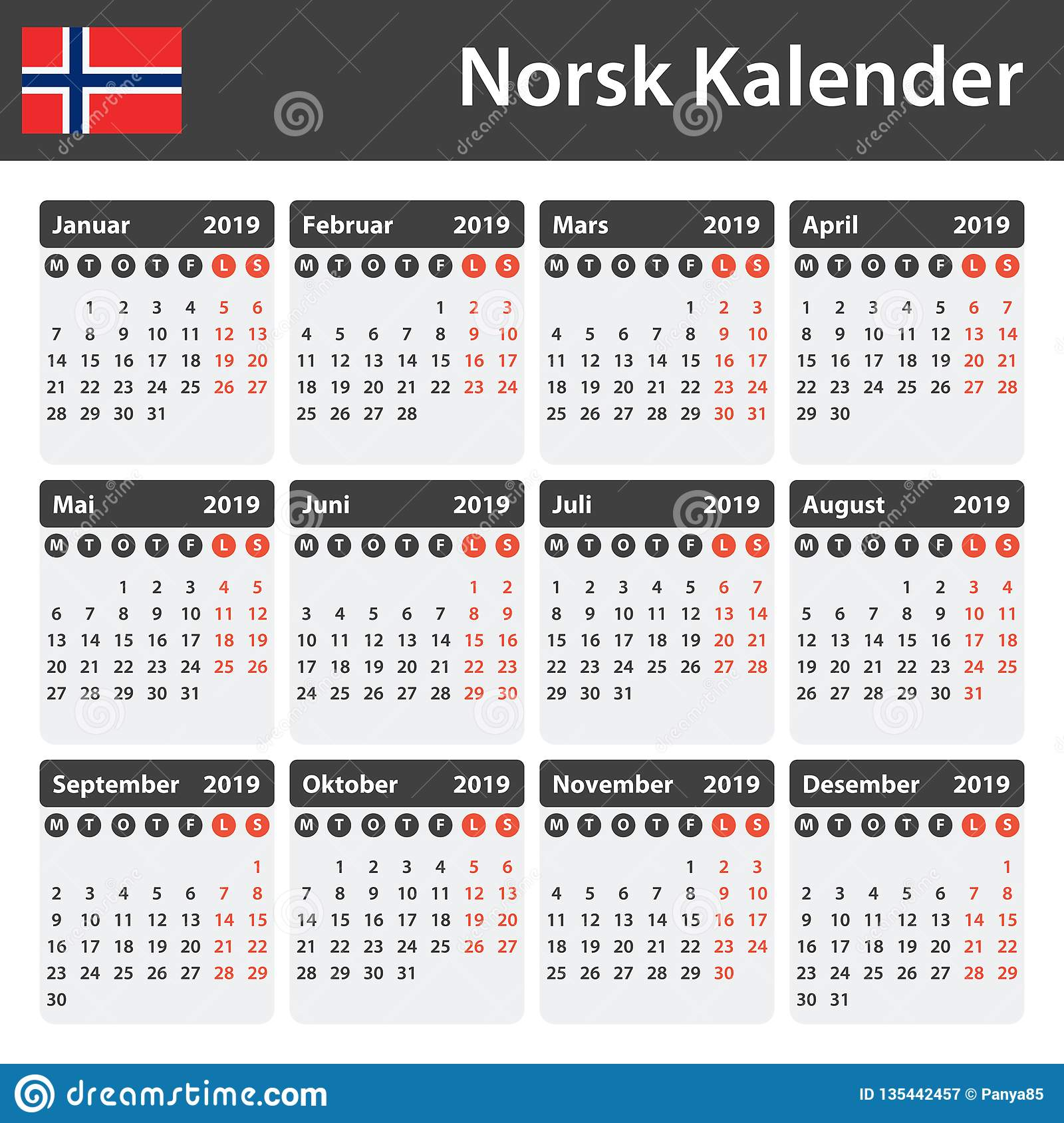 norwegian calendar for 2019  scheduler  agenda or diary