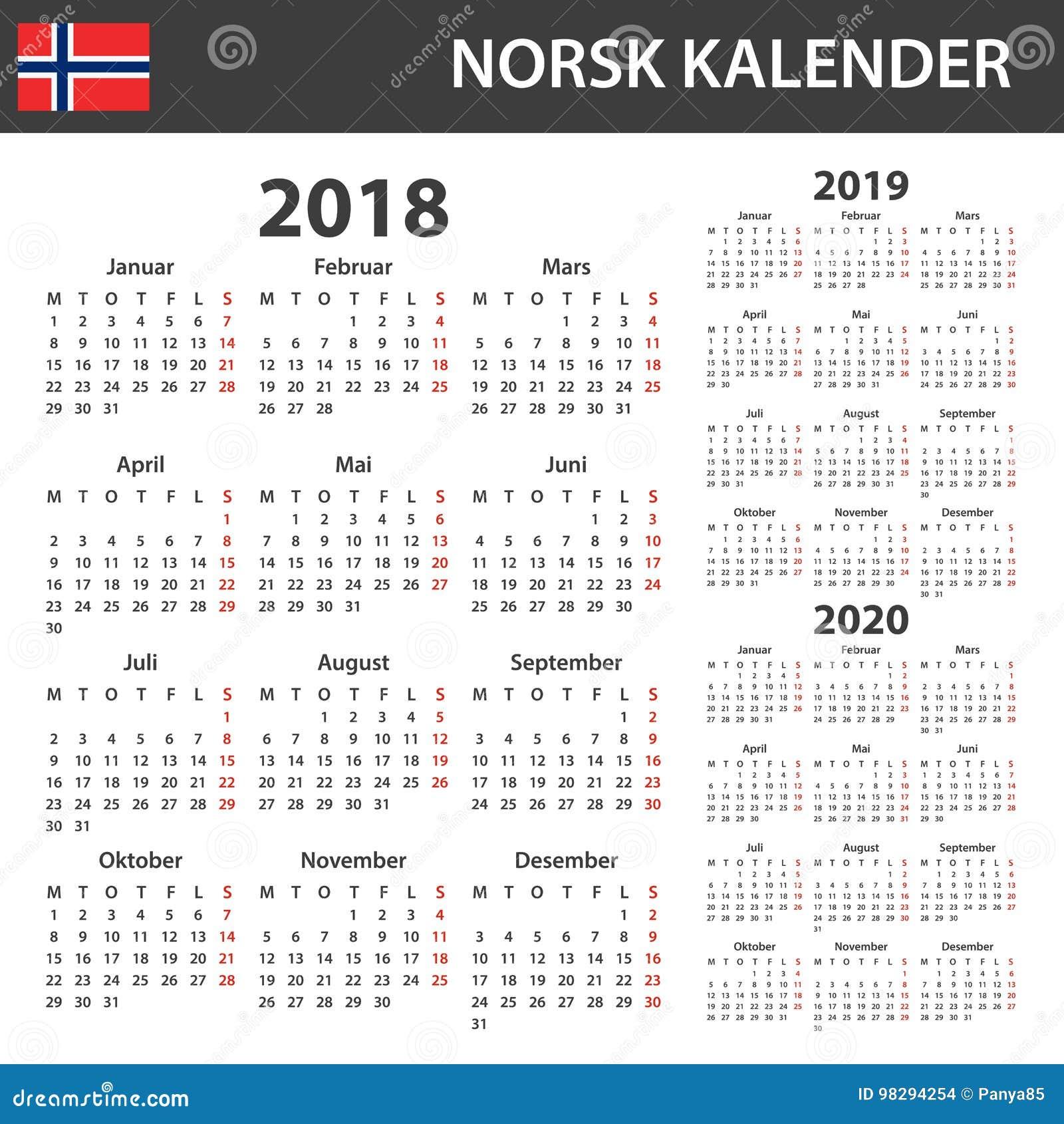 norwegian calendar for 2018 2019 and 2020 scheduler. Black Bedroom Furniture Sets. Home Design Ideas