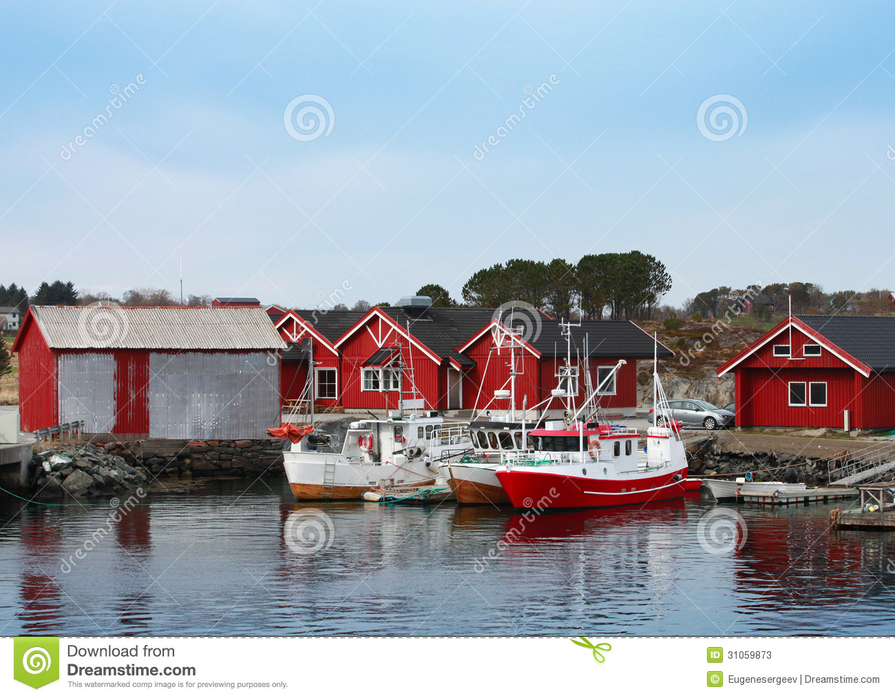 Norwegian Fishing Village With Red Wooden Houses Stock Image - Image: 31059873