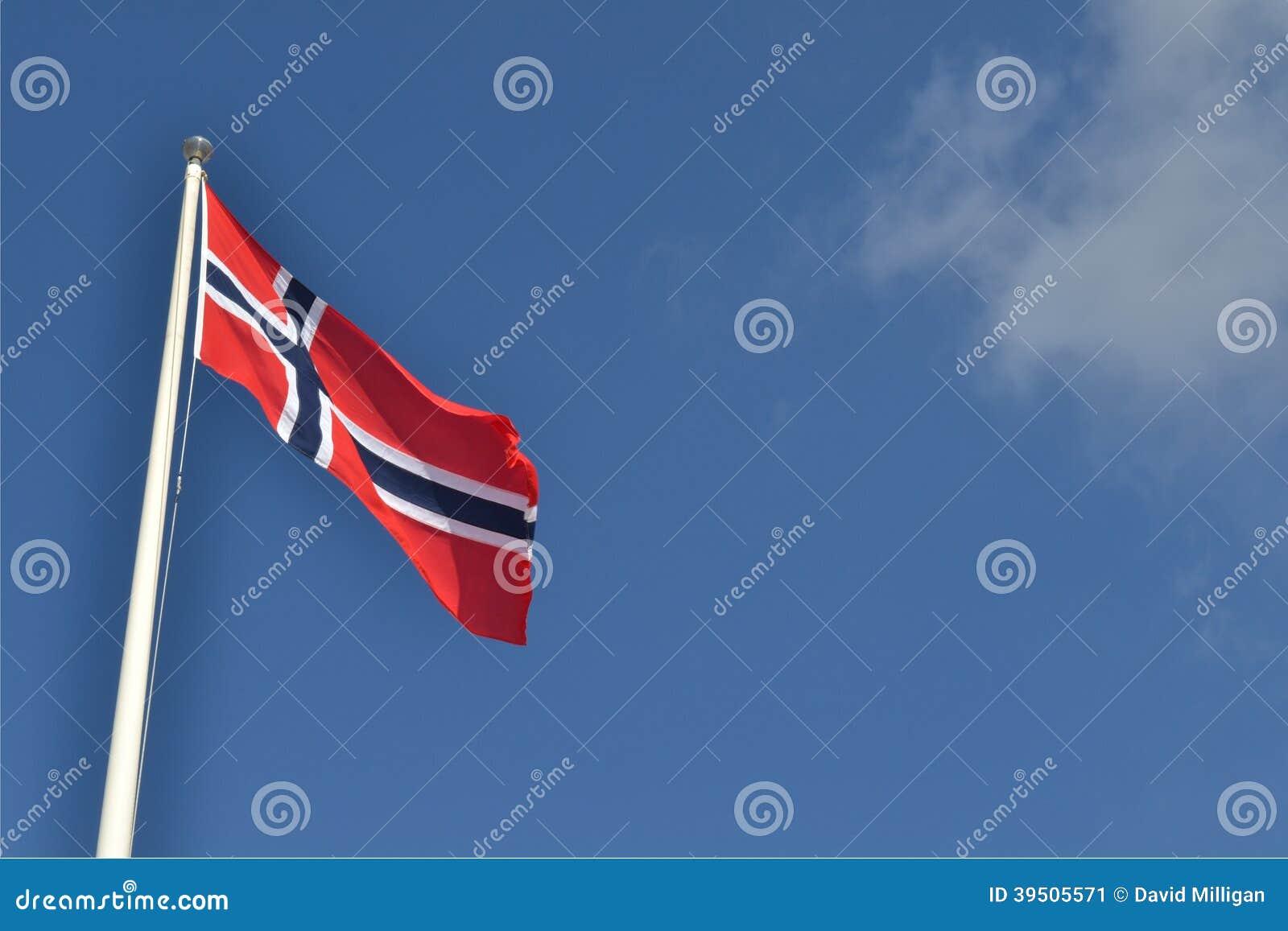 Norwegian flag against blue sky