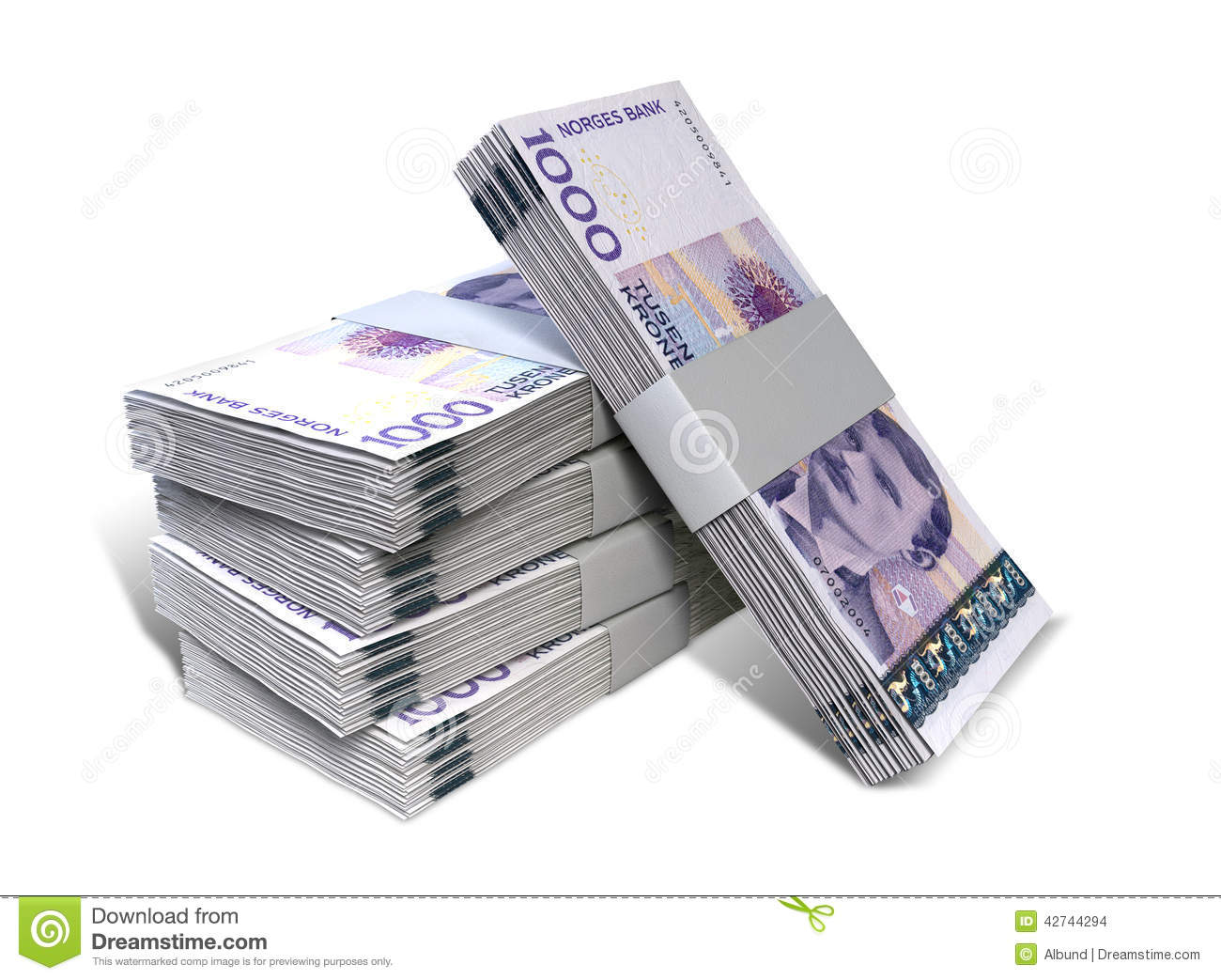 Norwegian Krone Notes Bundles Stack Stock Photo Image Of Cash