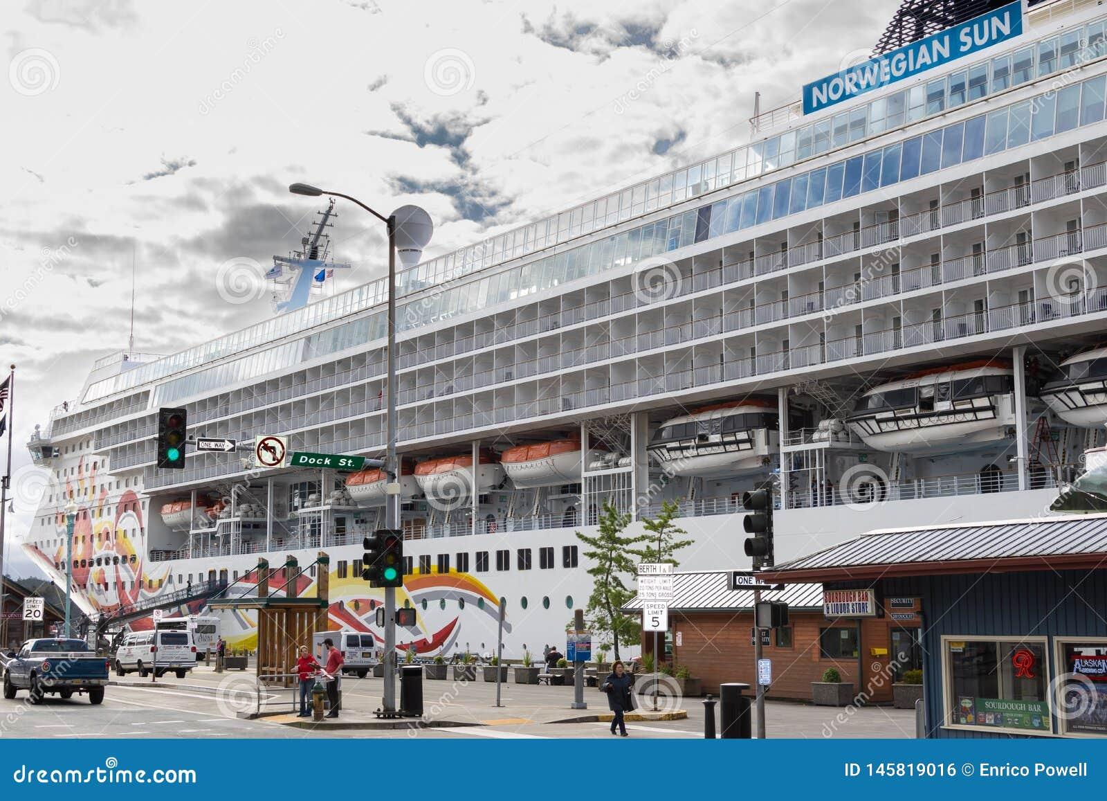 Norwegian NCL Sun Cruise Ship docked in downtown Ketchikan, Alaska