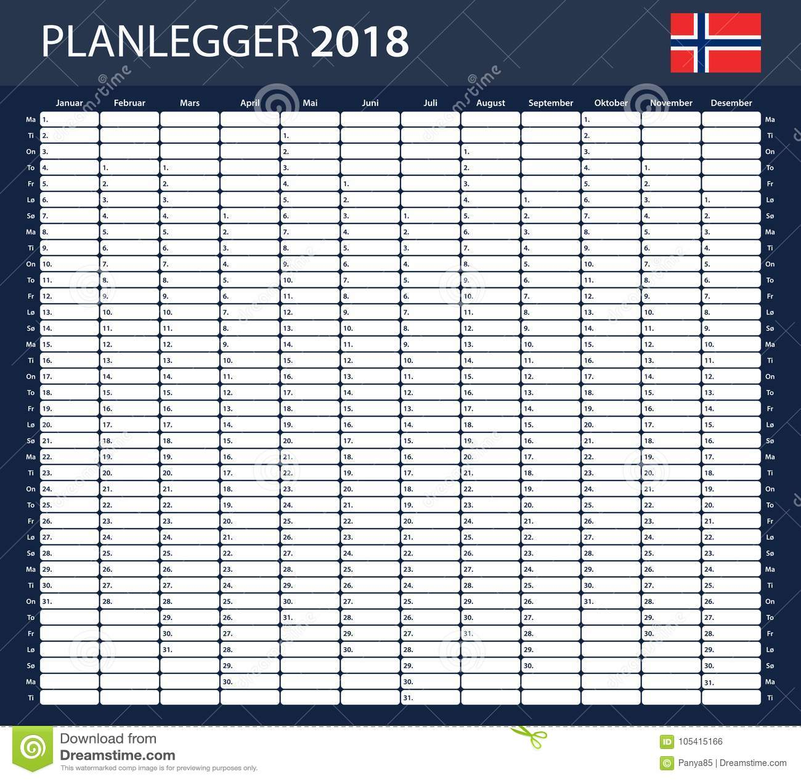 norwegian planner blank for 2018 scheduler agenda or diary