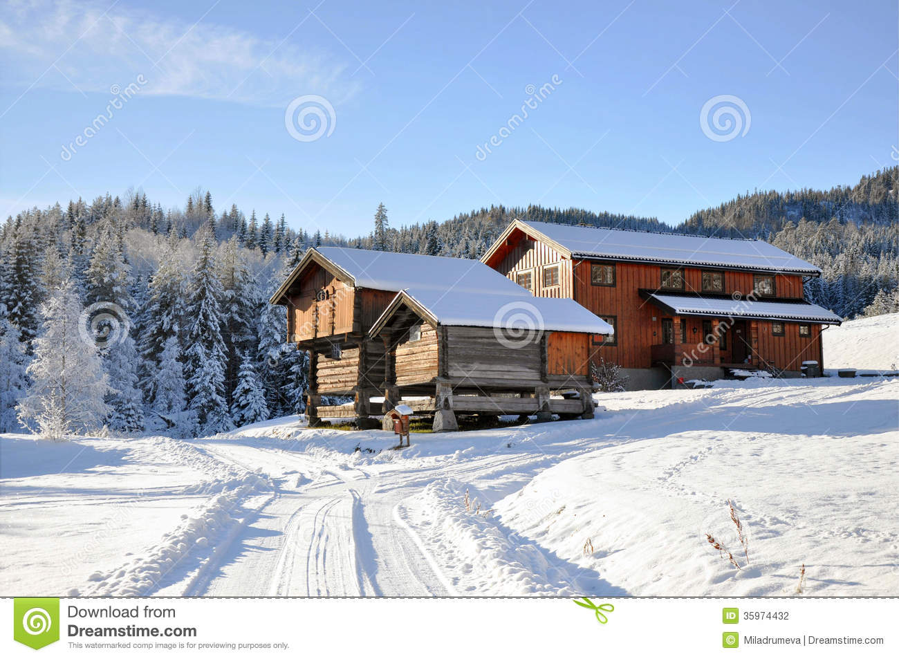Norwegian snowy houses stock photography image 35974432 for Norway wooden houses