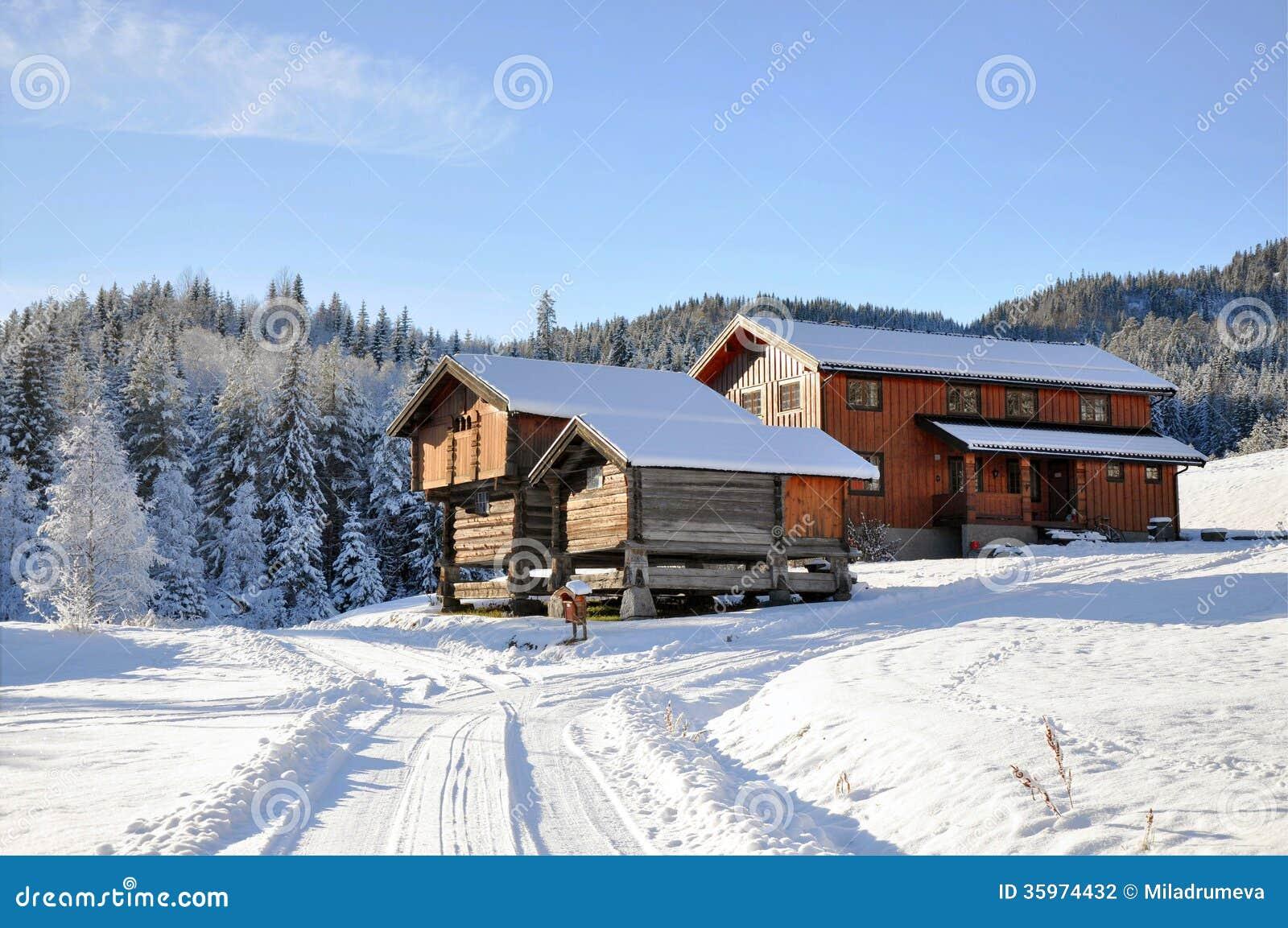 Norwegian snowy houses stock photography image 35974432 - Norwegian wood houses ...